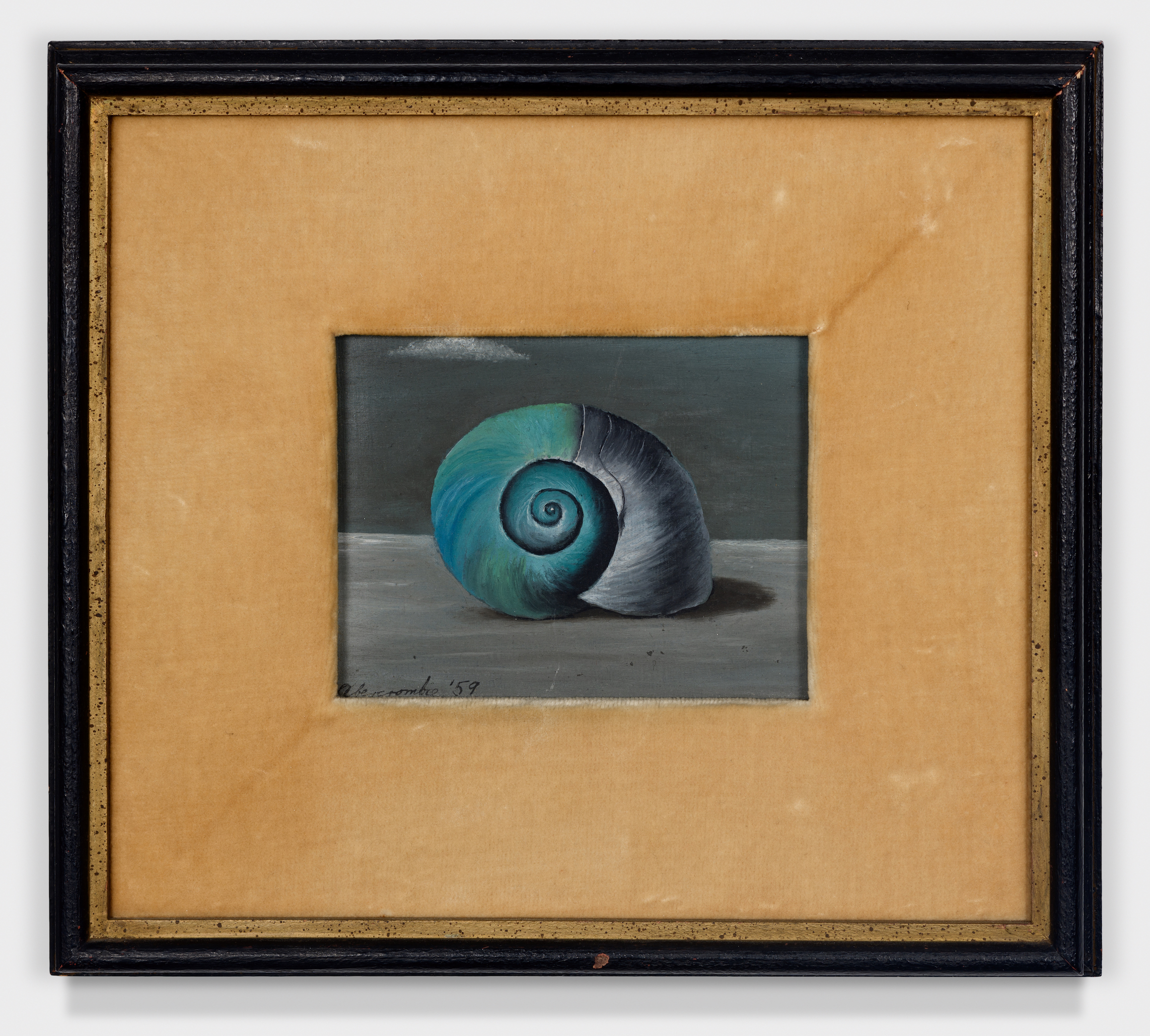 Shell,  1959, Oil on masonite, 4 × 5 inches (unframed); 8 1/2 × 9 1/2 inches (framed). Private collection, New York.