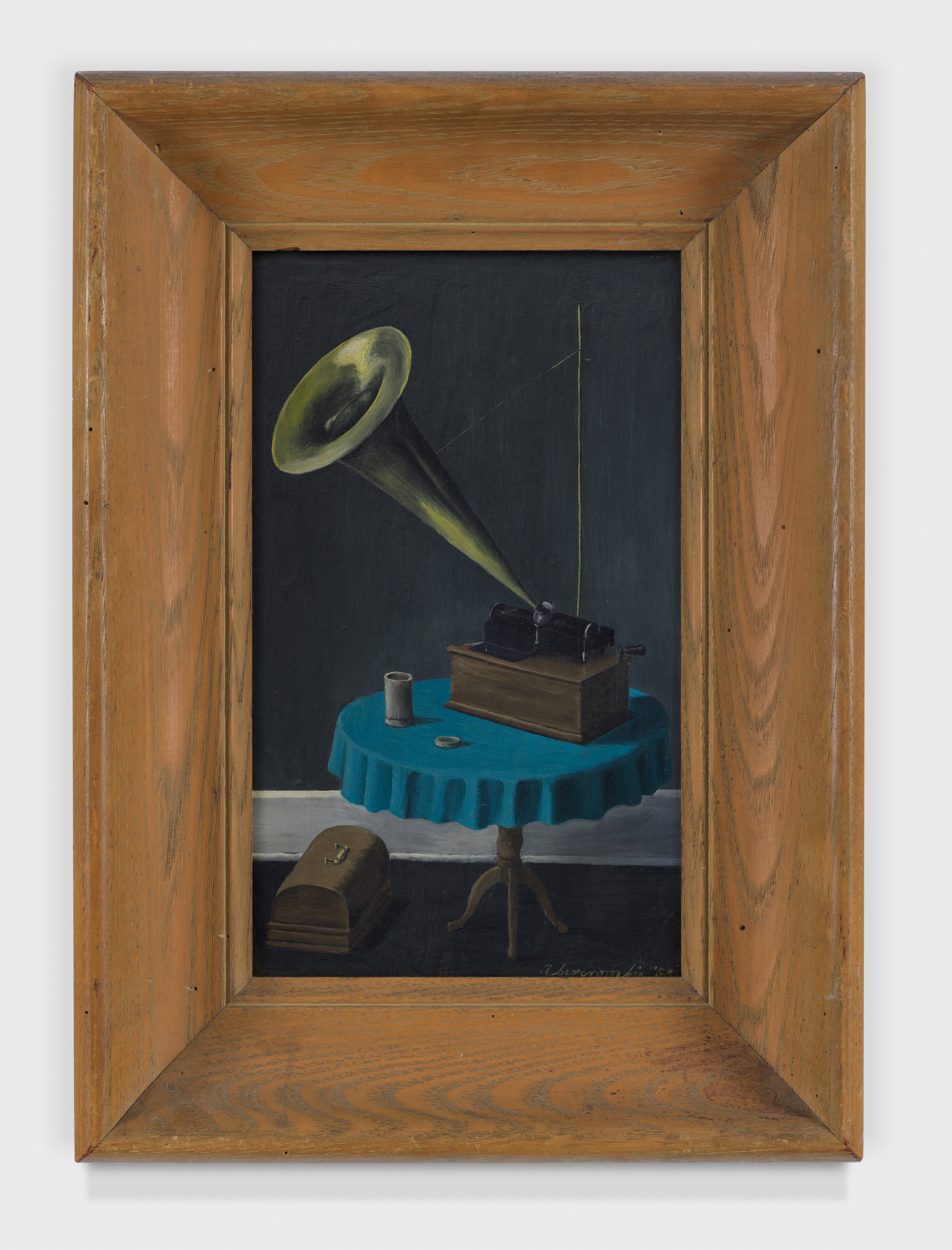 Small Phonograph,  1955, Oil on masonite, 10 3/4 × 6 3/4 inches (unframed); 16 × 11 1/2 inches (framed). Collection of August Becker.
