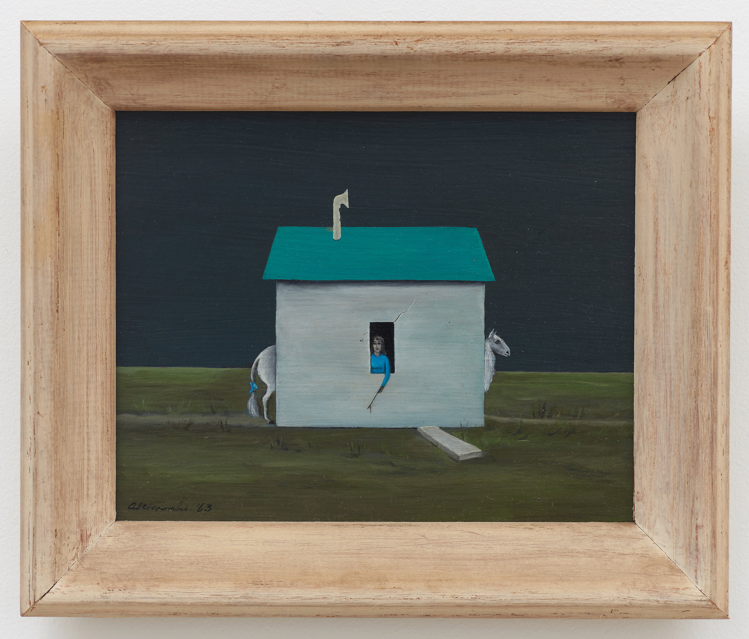 Untitled (Station and Shed),  1963, Oil on board, 7 7/8 × 10 inches (unframed); 10 3/4 × 12 3/4 inches (framed). Private collection.
