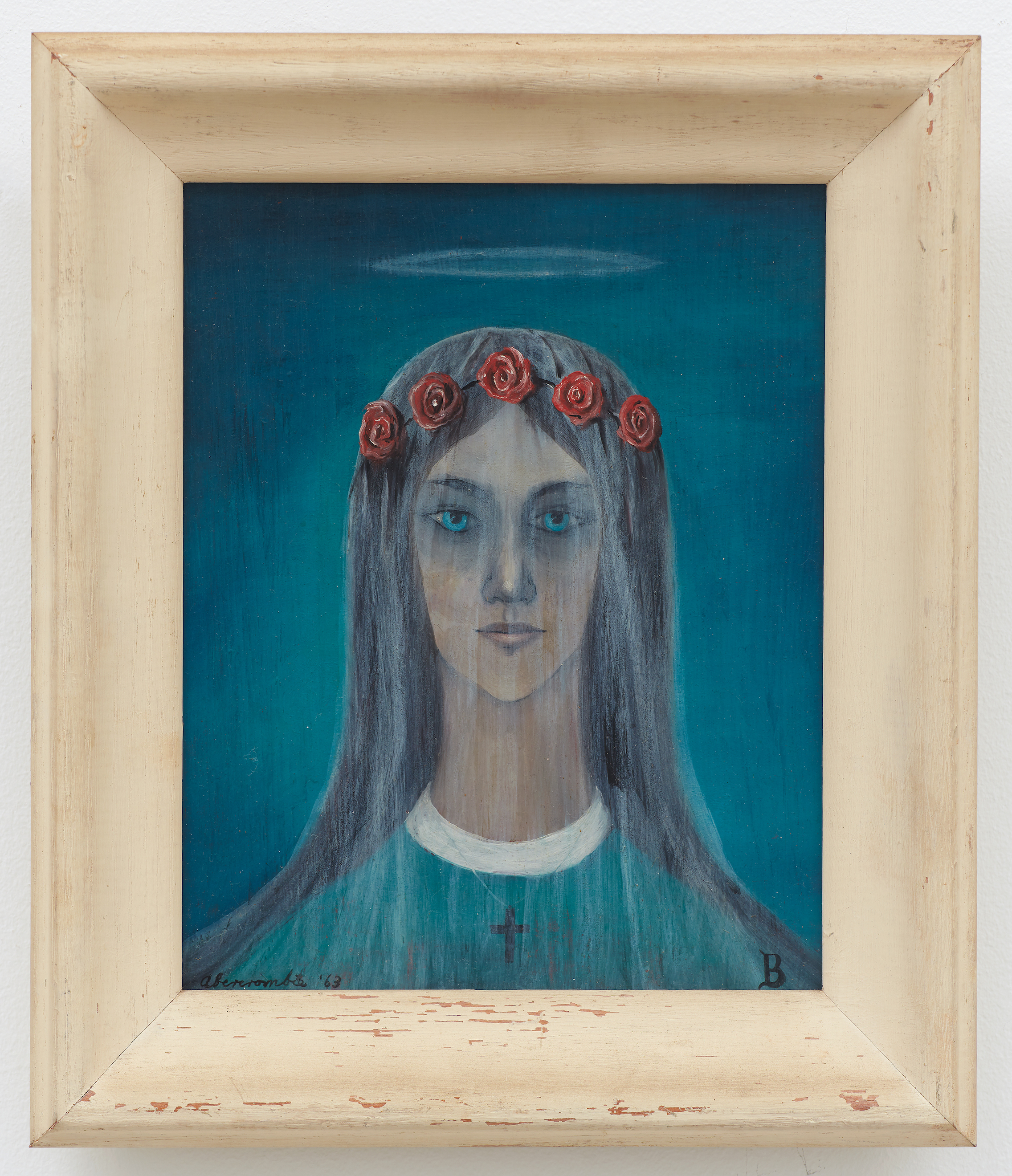 St. Brigit , 1963, Oil on board, 8 × 10 inches (unframed); 12 1/2 × 10 3/4 inches (framed). Private collection.
