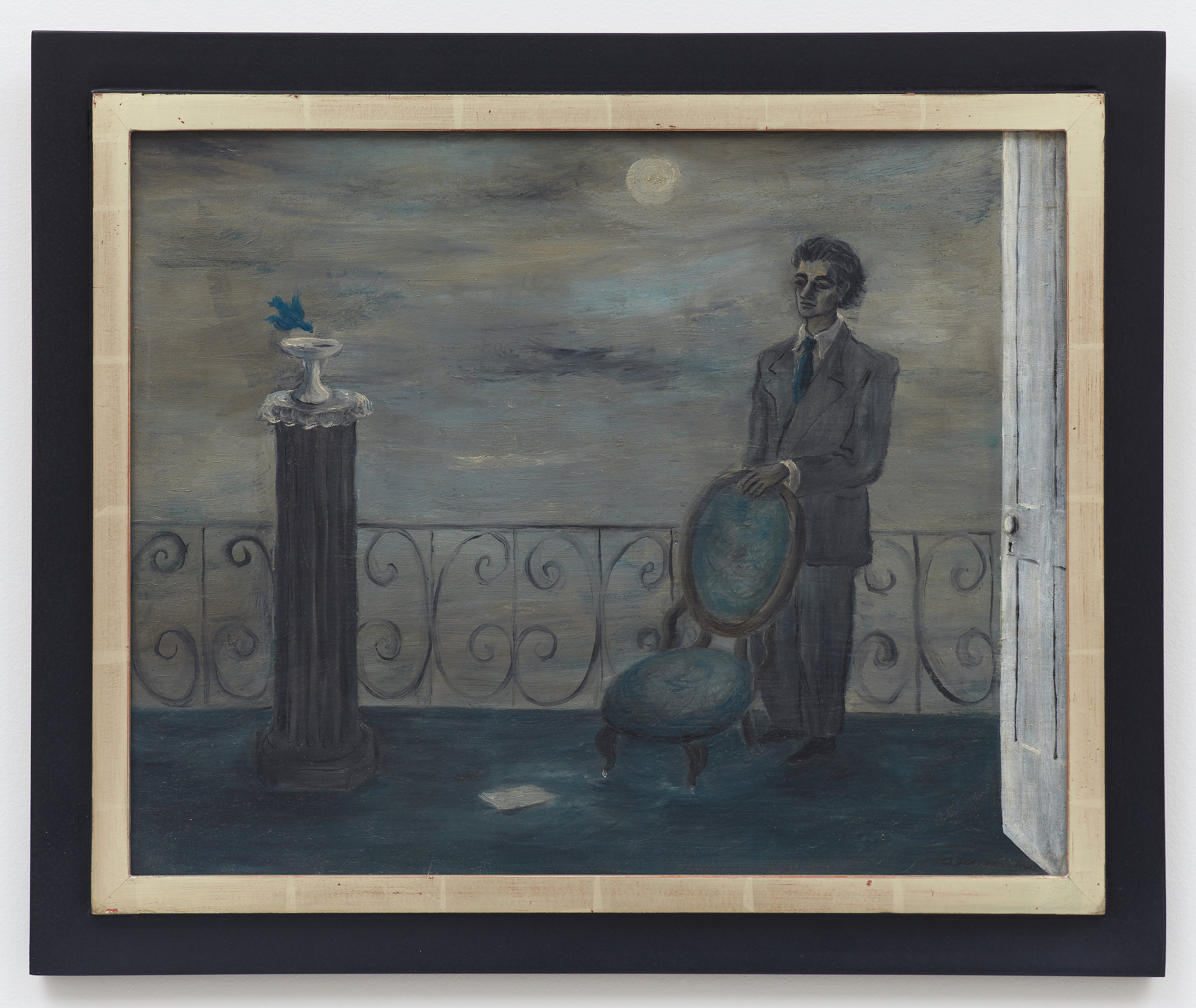 Seated Man , c. 1940, Oil on canvas, 16 × 20 inches (unframed); 19 1/2 × 23 1/2 inches (framed). Collection of Laura and Gary Maurer.