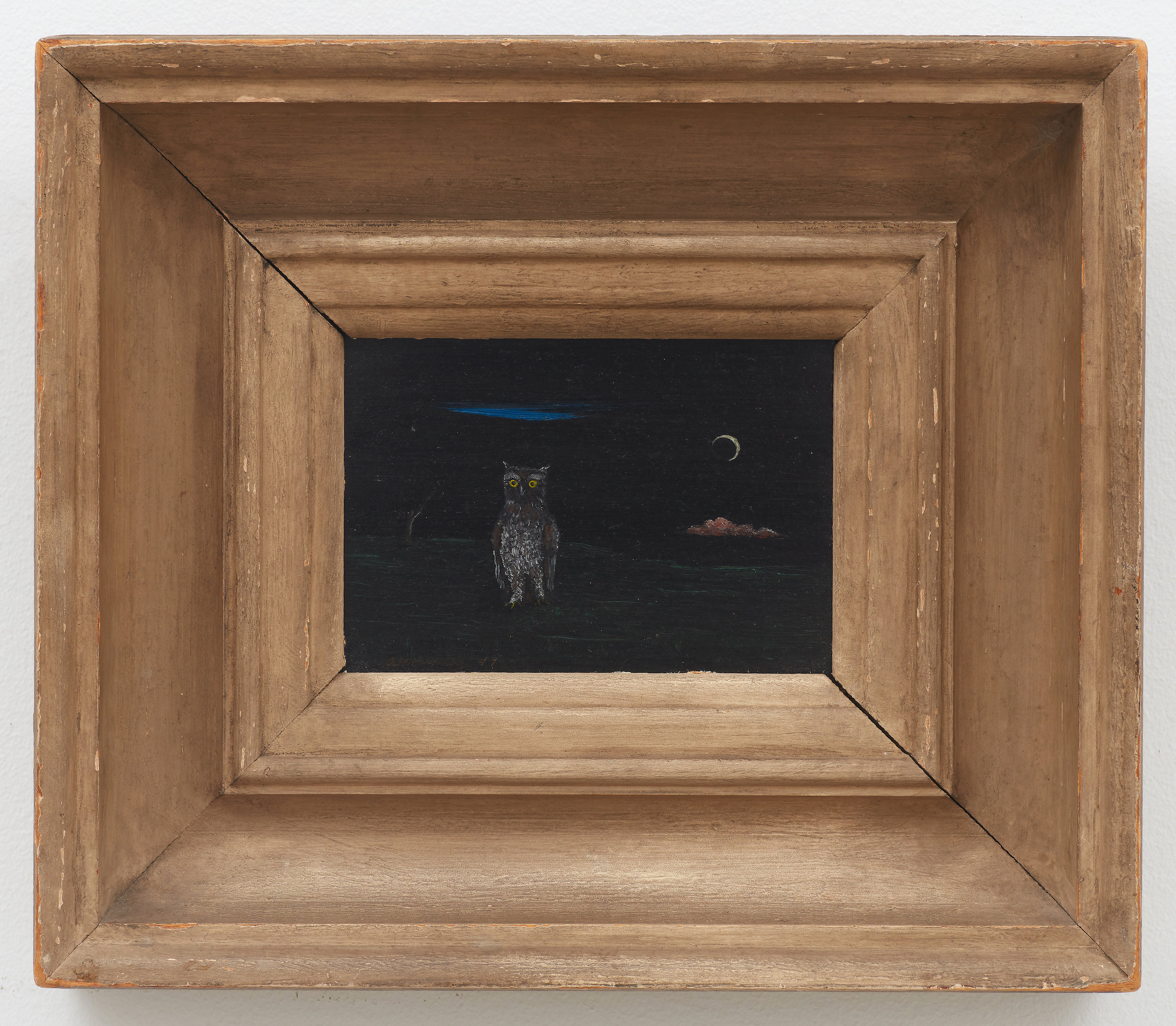 Night Owl , 1947, Oil on masonite, 4 1/2 × 6 1/4 inches (unframed); 10 3/4 × 12 1/2 inches (framed). Collection of Laura and Gary Maurer.