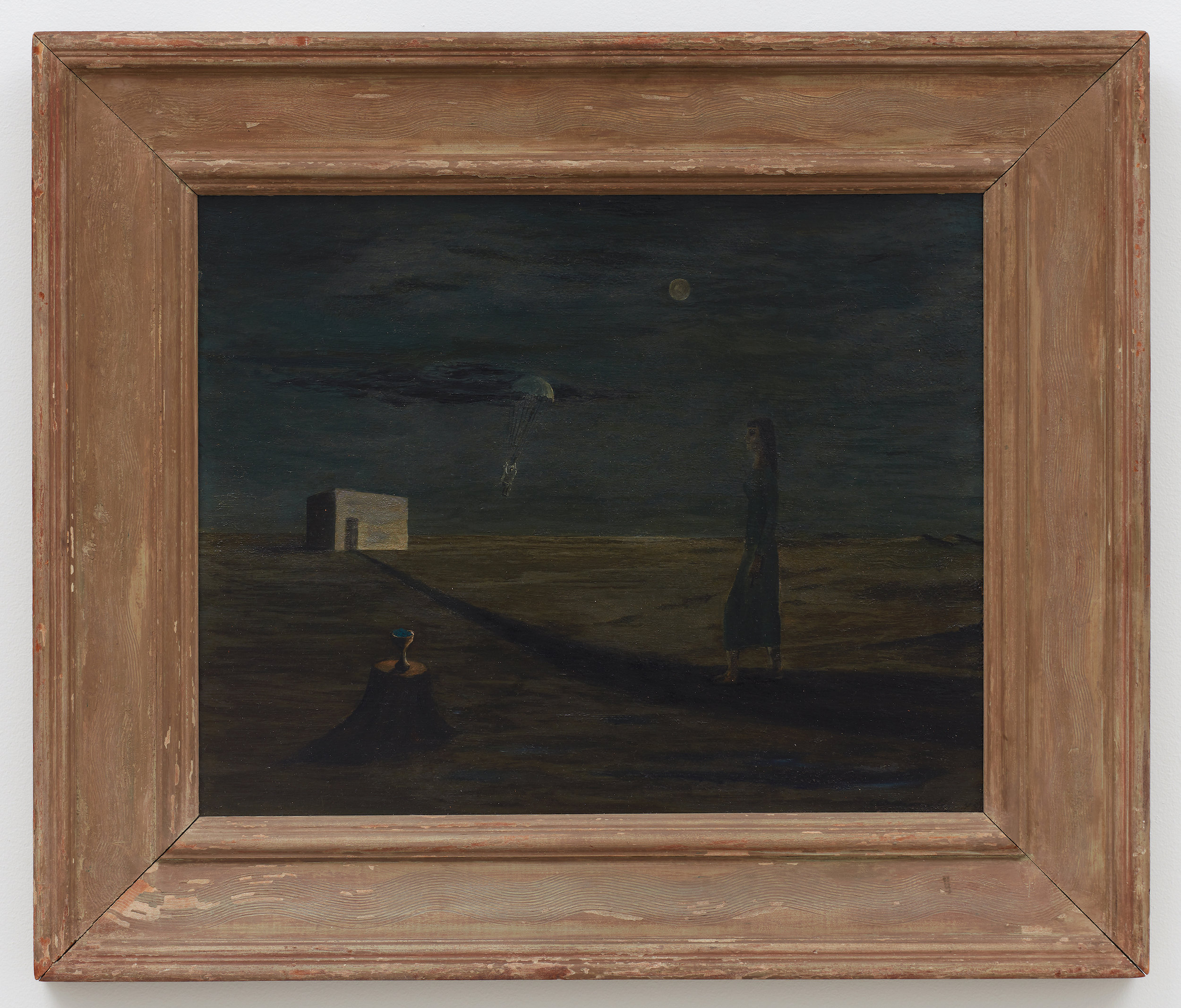The Parachutist,  1945, Oil on masonite, 16 × 20 inches (unframed); 23 1/2 × 27 3/4 (framed). Illinois State Museum, Illinois Legacy Collection, museum purchase.