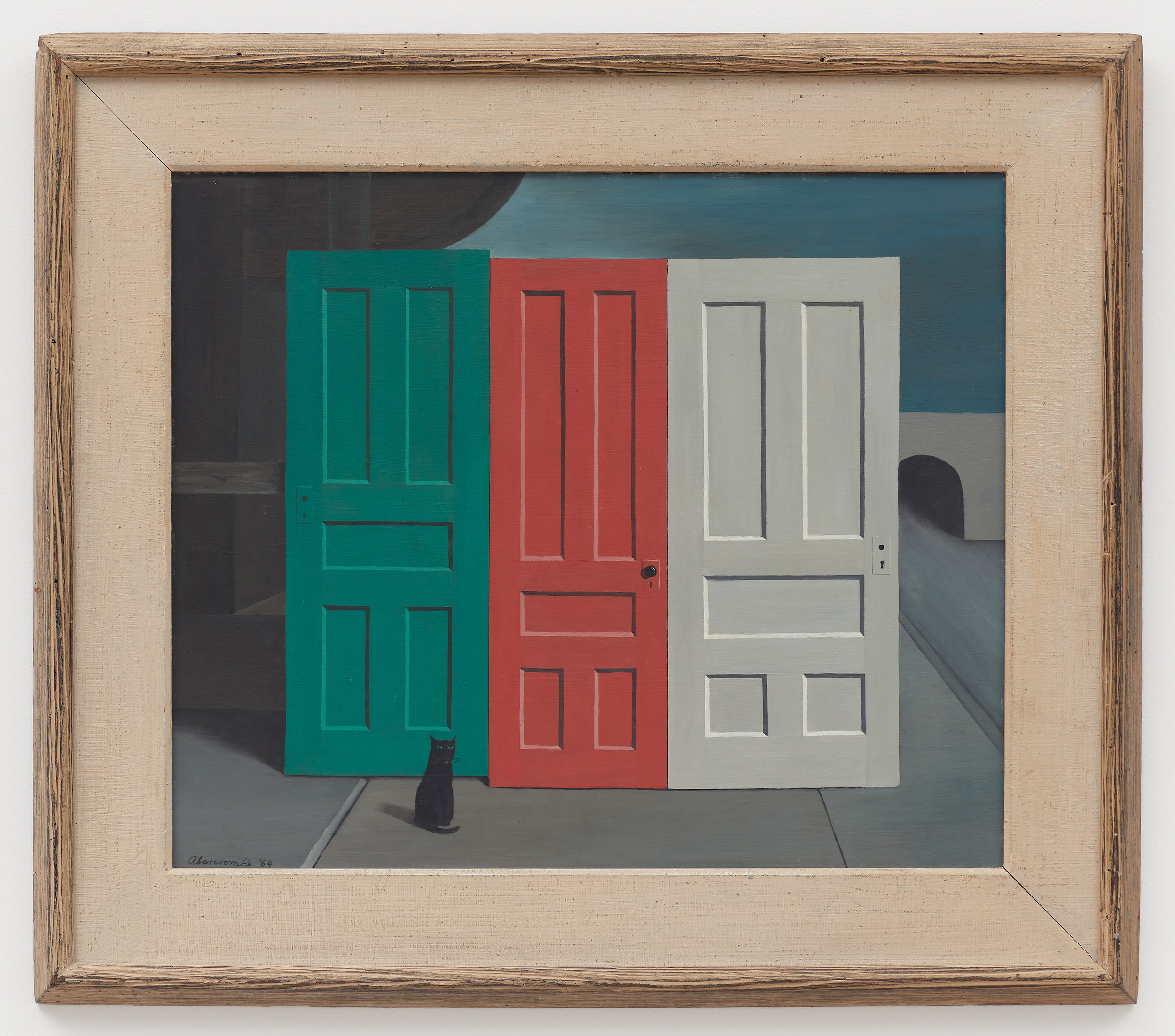 Demolition Doors,  1964, Oil on masonite, 20 × 24 1/2 inches (unframed); 27 1/4 × 31 1/4 (framed). Columbus Museum of Art, Ohio: Museum Purchase, Derby Fund, from the Philip J. and Suzanne Schiller Collection of American Social Commentary Art 1930–1970.