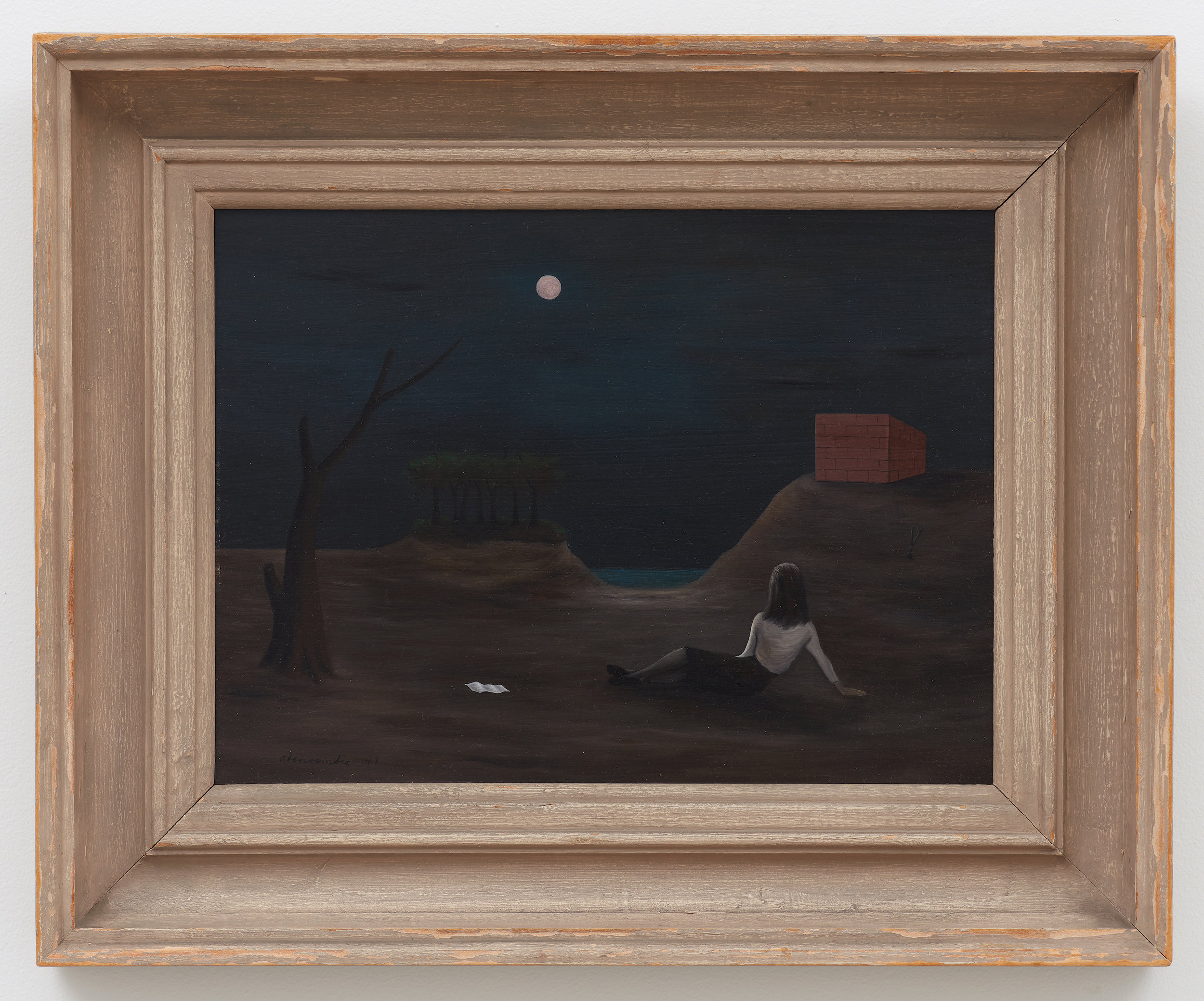 Reverie , 1947, Oil on masonite, 12 × 16 inches (unframed); 18 1/2 × 22 inches (framed). Illinois State Museum, Illinois Legacy Collection, museum purchase. Photo: Illinois State Museum.