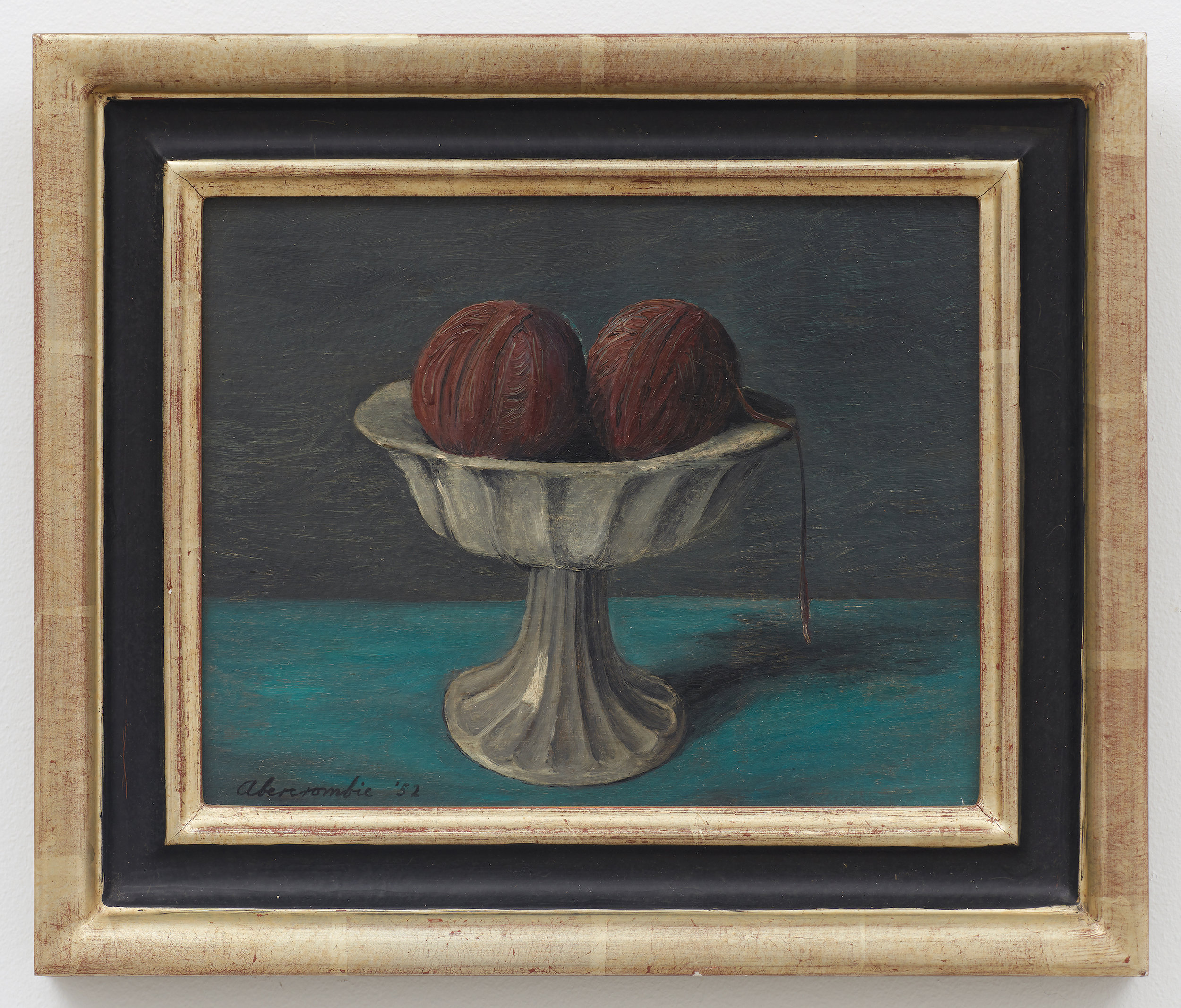 Compote and Purple Yarn,  1952, Oil on board, 8 × 10 inches (unframed); 11 1/2 × 13 1/2 inches (framed)