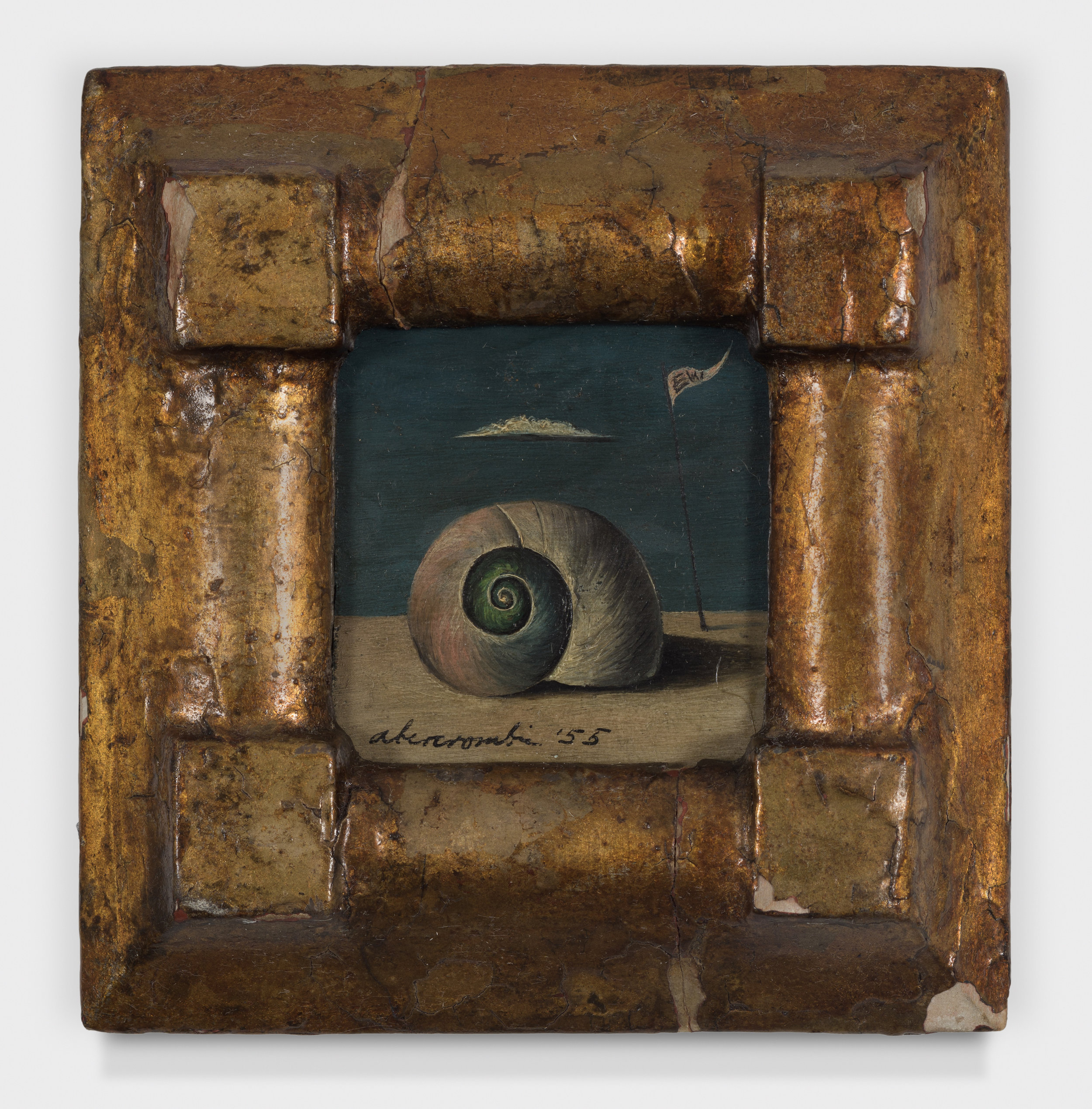 Snail and Flag,  1955, Oil on masonite. 2 1/4 × 2 inches (unframed); 4 1/2 × 4 1/2 inches (framed). Collection of August Becker.