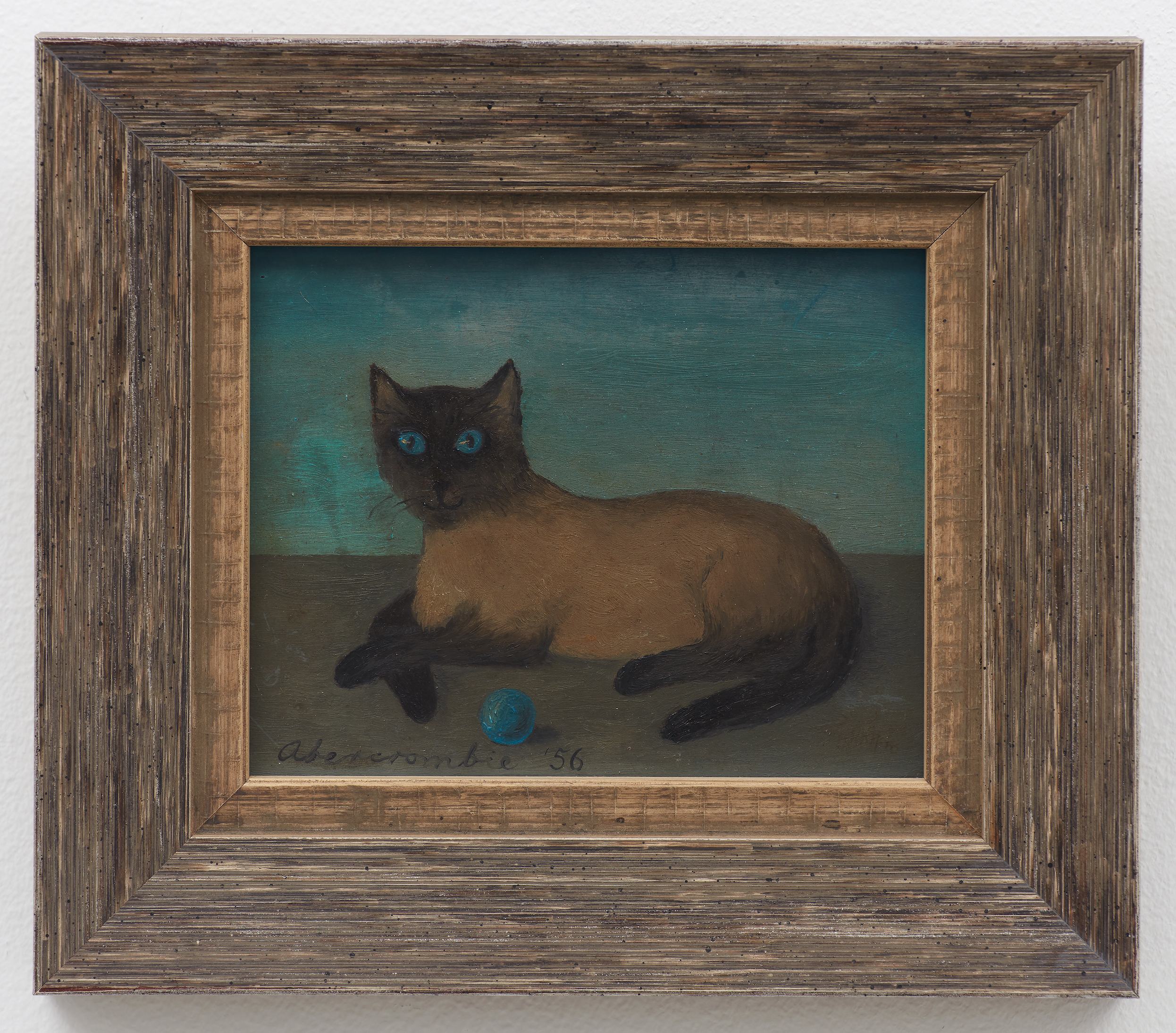 Untitled (Cat and Ball),  1956, Oil on board, 4 1/4 × 5 1/4 inches (unframed); 6 3/4 × 7 3/4 inches (framed). Collection of Laura and Gary Maurer.