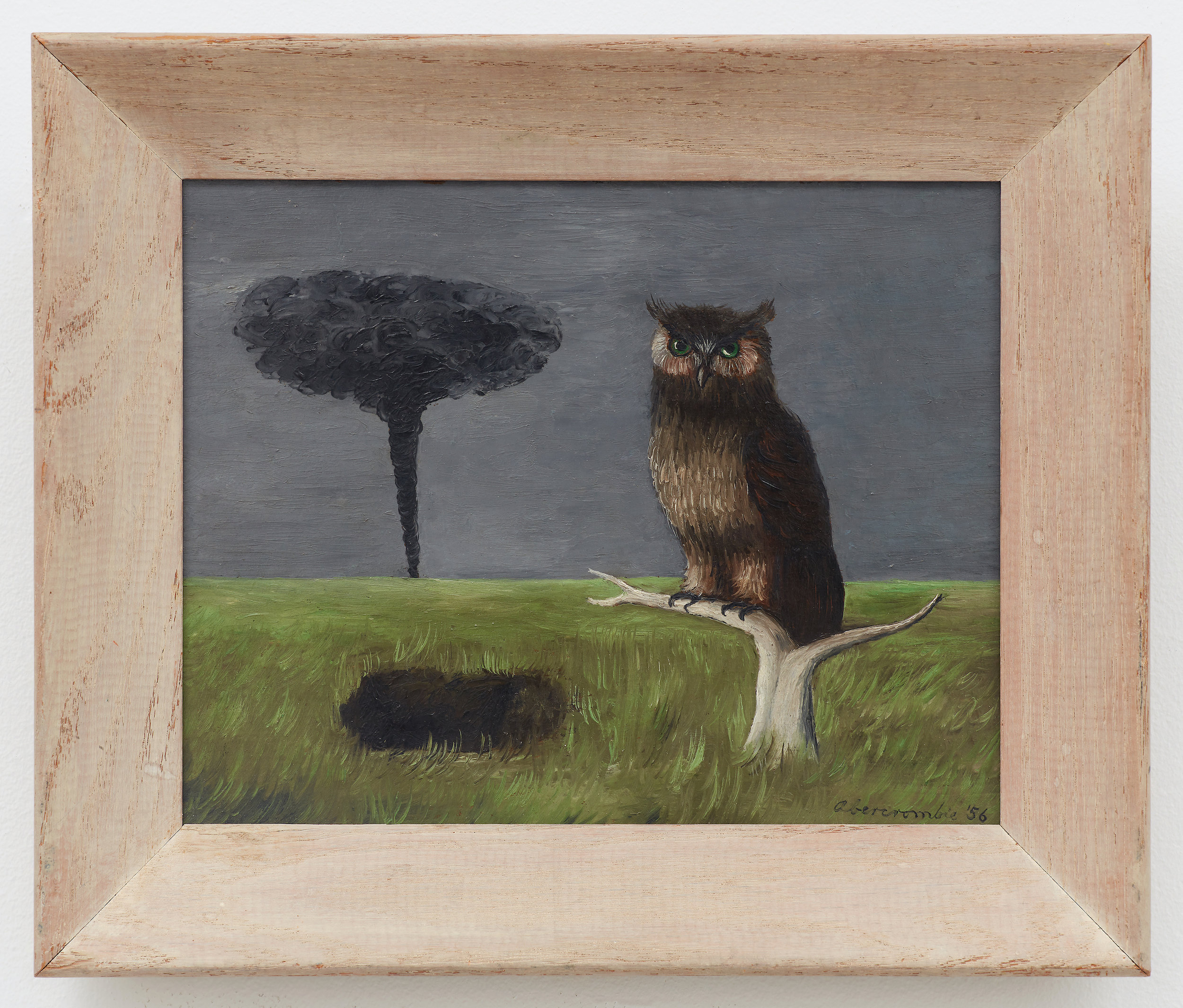 Owl and a Tornado,  1956, Oil on masonite, 7 7/8 × 10 inches (unframed); 10 3/4 × 12 3/4 inches (framed). Collection of Laura and Gary Maurer.