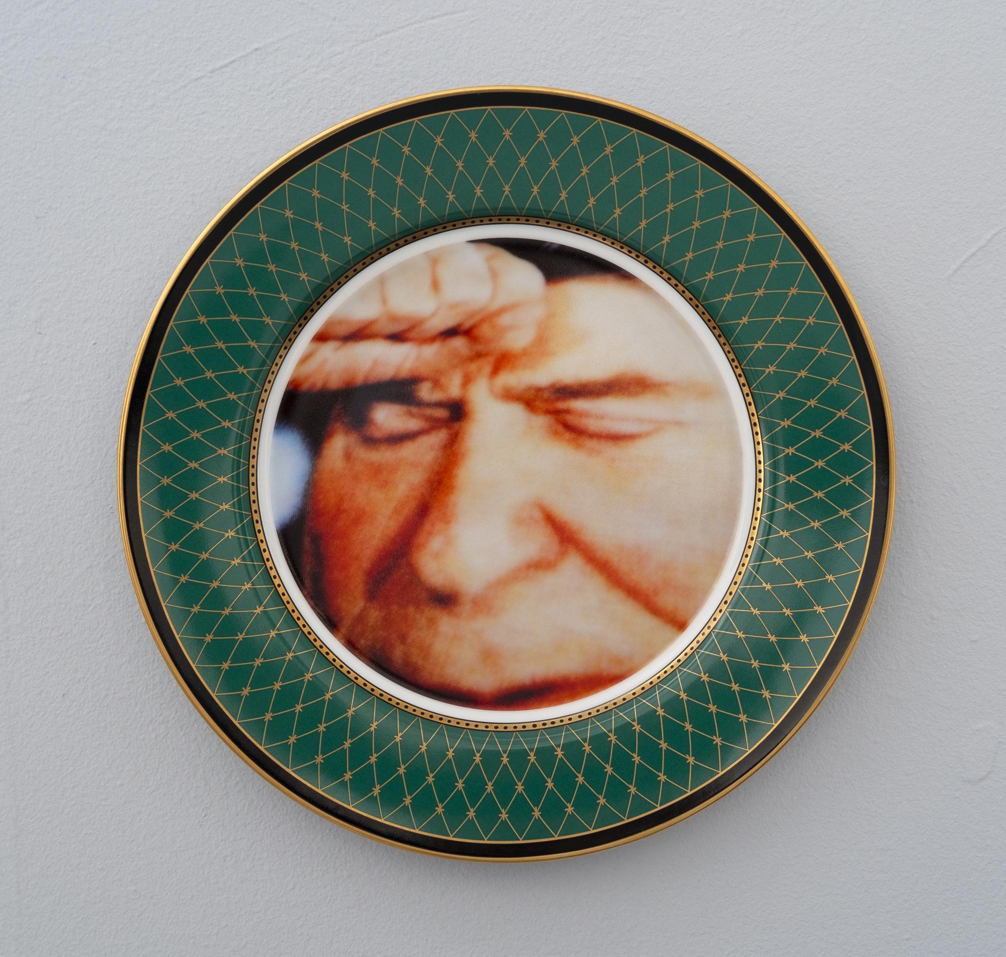 Bean Gilsdorf,  Ronald Reagan , 2018, Ceramic plate, 10.25 inch diameter