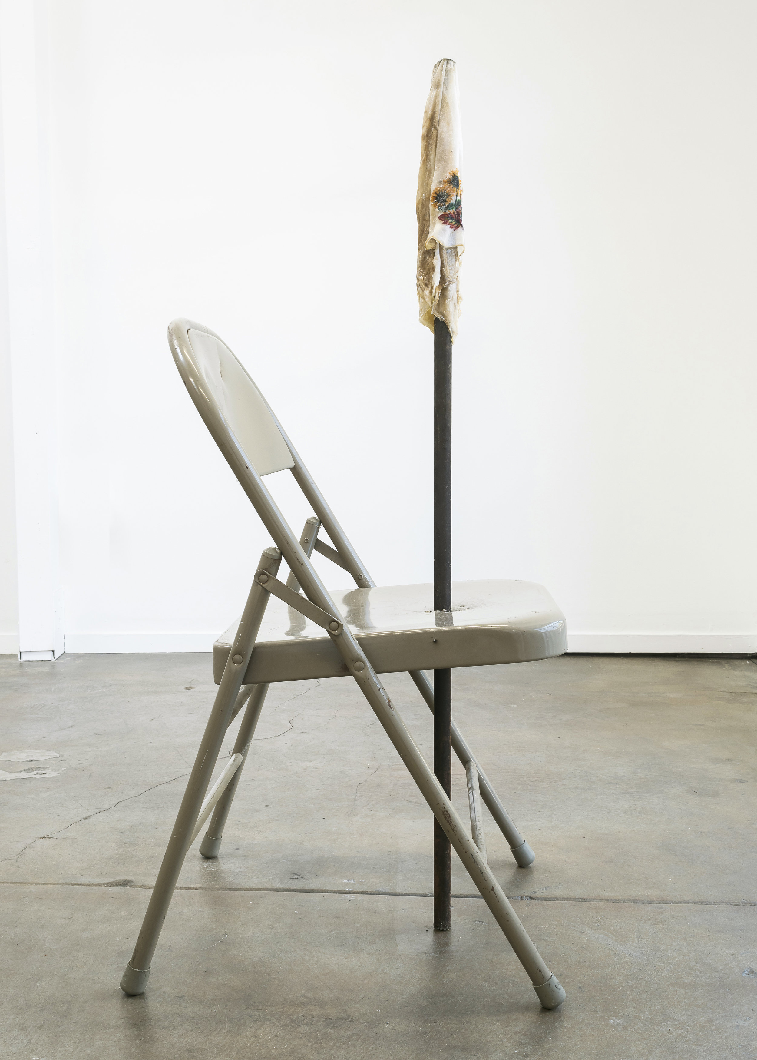 Bri Williams,  Scars that heal and don't fester , 2018. Metal fold chair, metal pole, handkerchief, soap