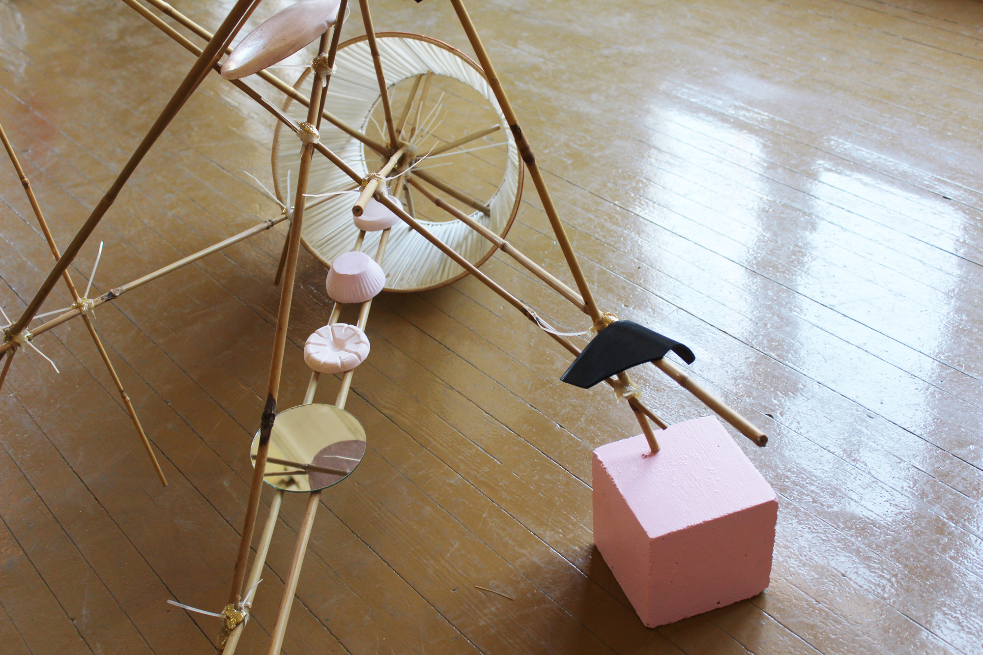 Nana Sachini,  Collection of Unfinished Houses , 2013, Bamboo sticks, lampshade, silicone, glitter, cement, plaster, paint, rubber, mirror, 107 x 155 x 125 cm, Courtesy the artist and a.antonopoulou.art gallery