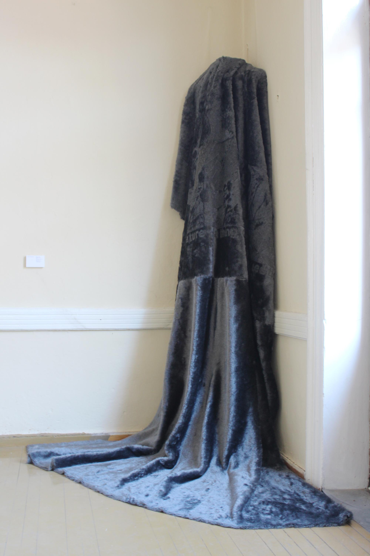 Valinia Svoronou,  Dense Coat Configuration , 2017, Synthetic fur with laser engraving, 280 x 170 cm