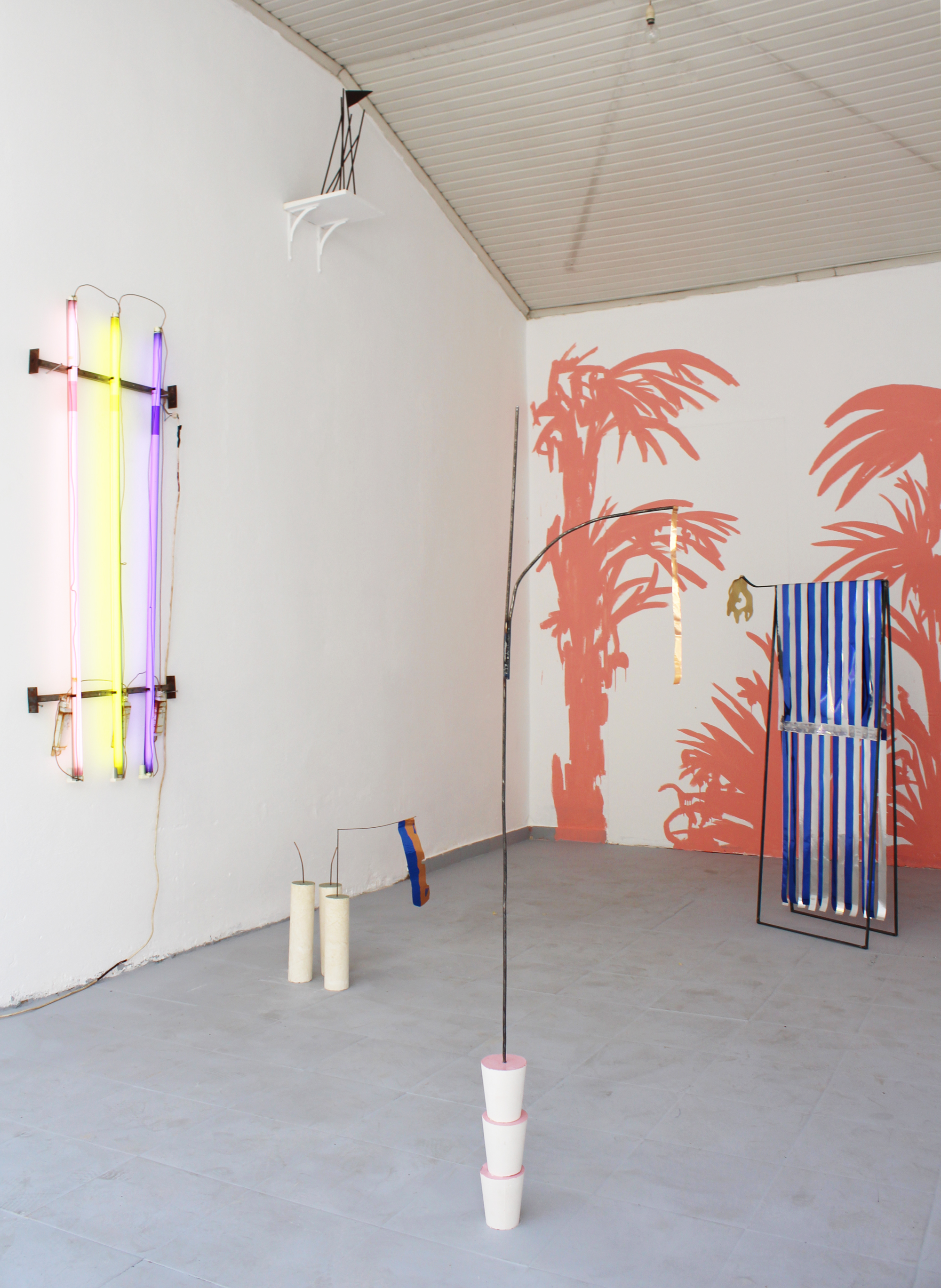Yorgos Maraziotis,  A Still Life (The Evening of 17th October 2037) , 2018, Wood, plaster, steel, acrylic paint, neon lights, Dimensions variable