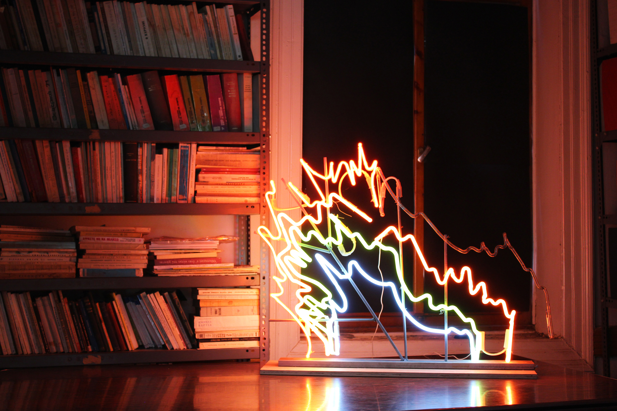 Vasilis Papageorgiou,  Homage to the Dryly Grasses , 2014, Neon lights and metal construction, 130 x 90 x 7 cm