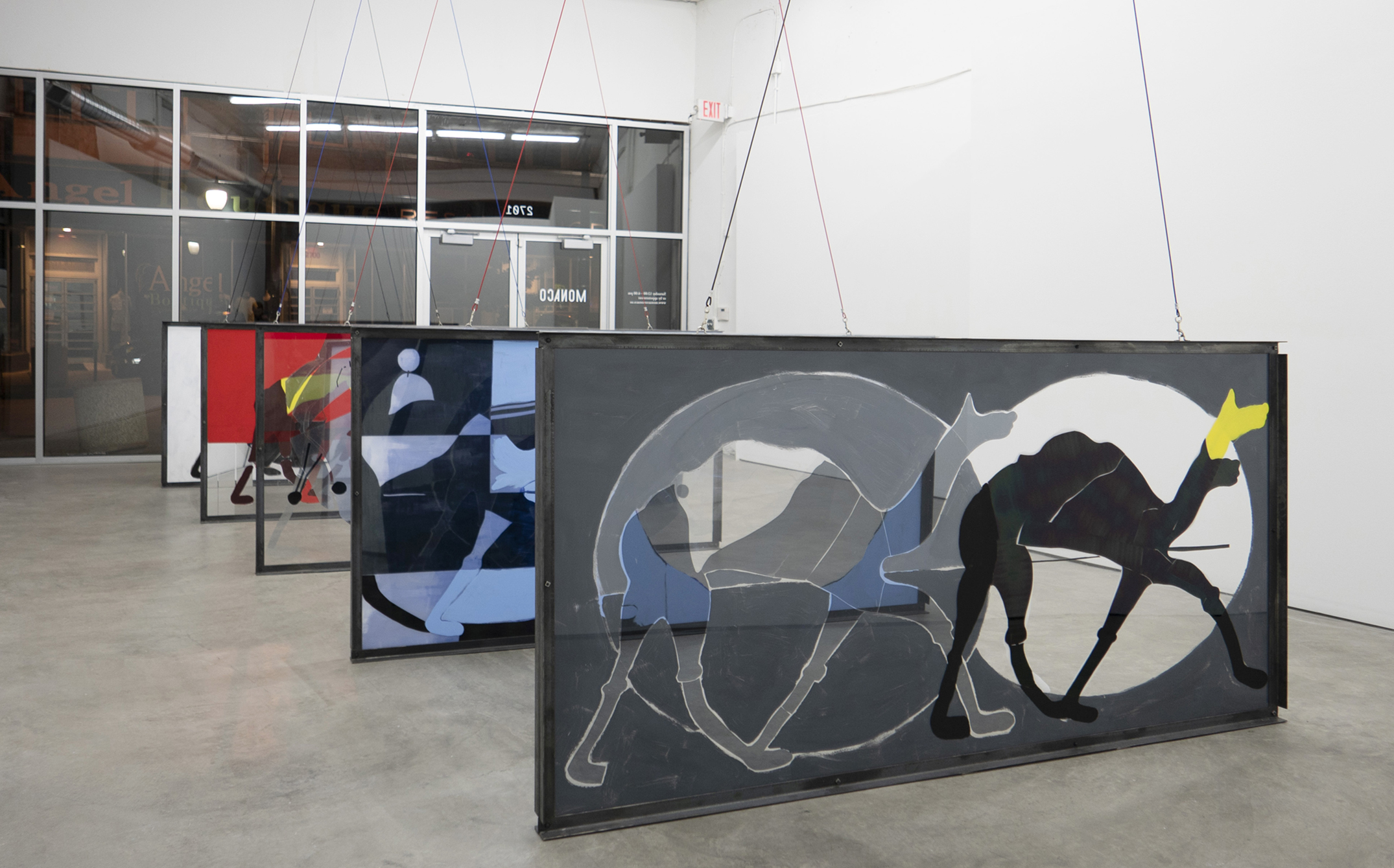 Jenny Gagalka, Camel Race 1 - 5, 2018, flashe paint and window tint film on plexiglas, steel frame, cables, Dimensions: 48 x 96.5 x 3 in