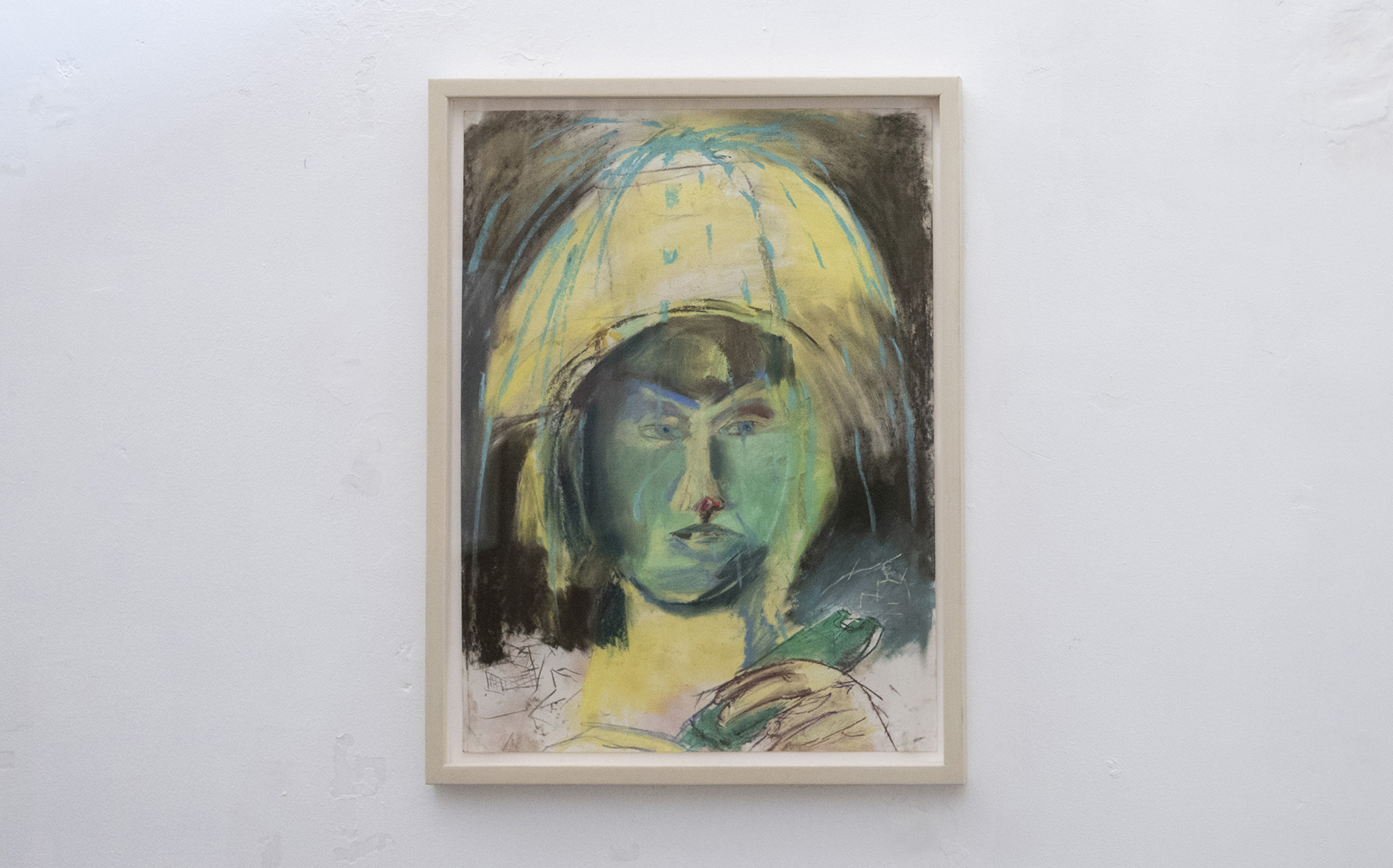 Jenny Gagalka, Beaux Mendes, William Wasserman,  Amalia with MultiGuard stun gun in green,  2018, pastel on paper, artist's frame, 26.25 × 20.25 in
