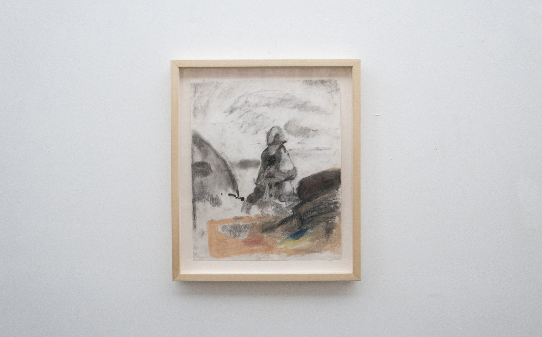 Jenny Gagalka, Beaux Mendes, William Wasserman,  Rock Sitter 4,  2018, pastel on paper, artist's frame, 20.5 × 17.5 in