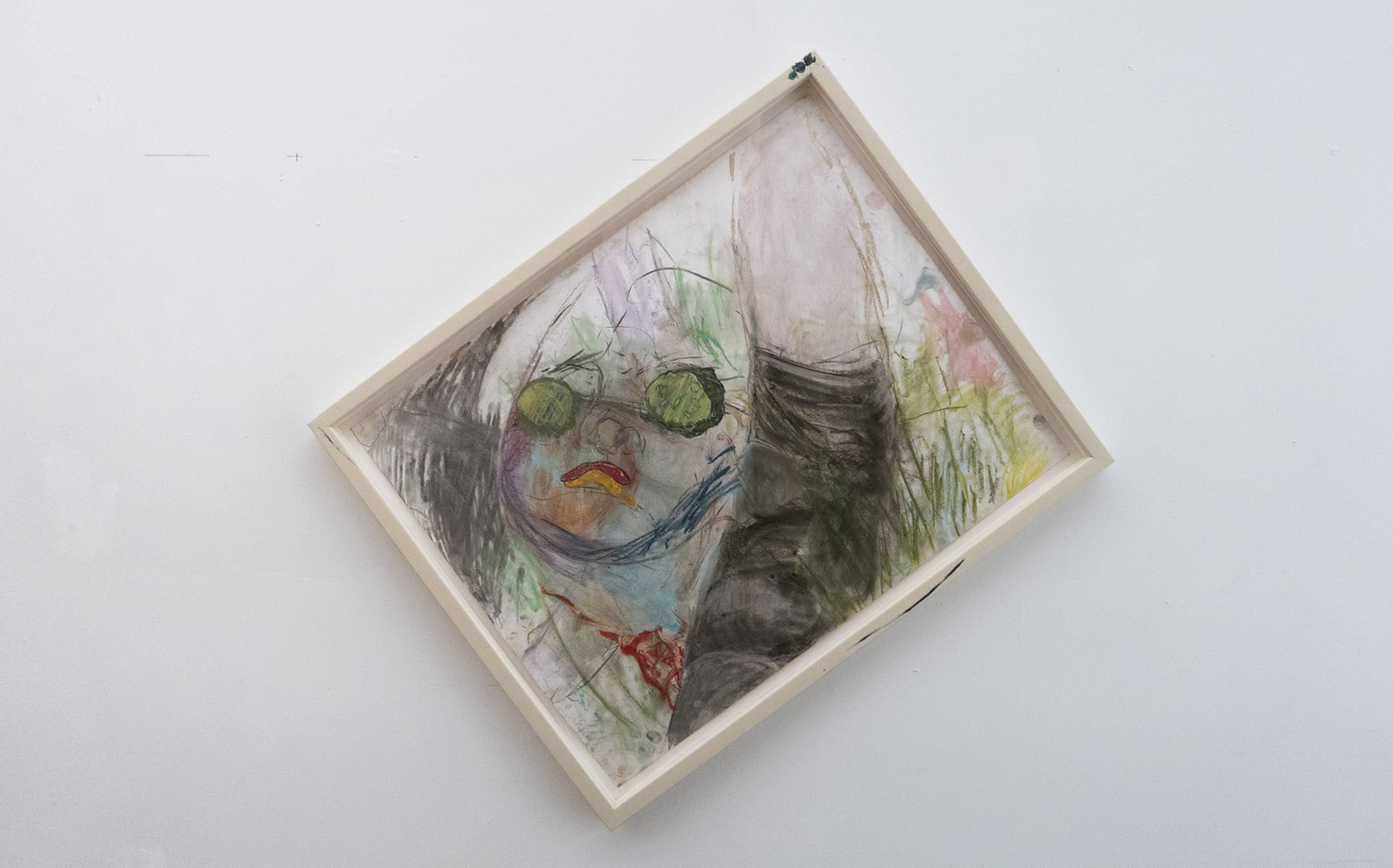 Jenny Gagalka, Beaux Mendes, William Wasserman,  Heinz picnic facial,  2018, pastel on paper, artist's frame, 26.25 × 20.25 in