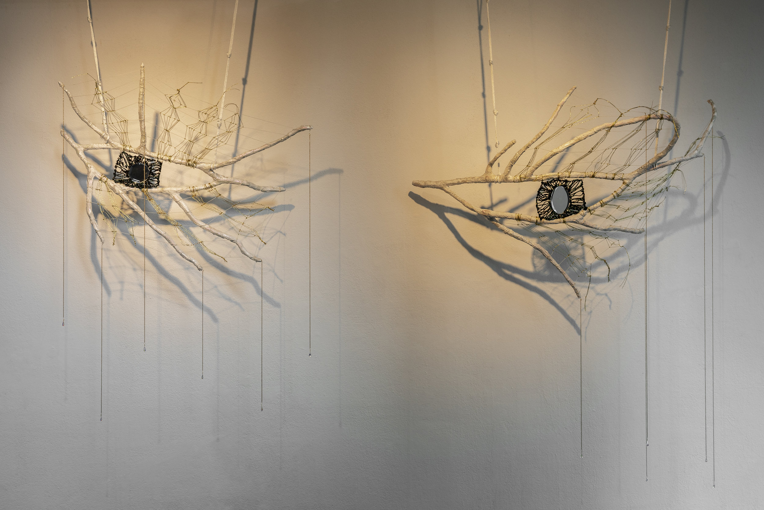 Mindy Rose Schwartz,  Hamsa , 2018. Branches, cord, rope, mirrors