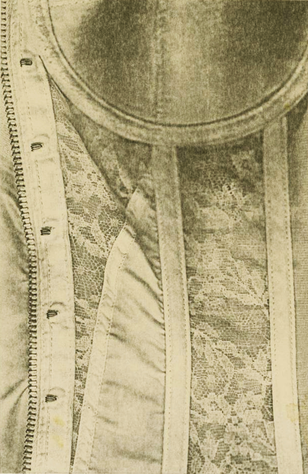 Pati Hill,  Section of Corset,  1976, Black and white photocopy, In original mat, 8 ¾ × 5 ¾ inches