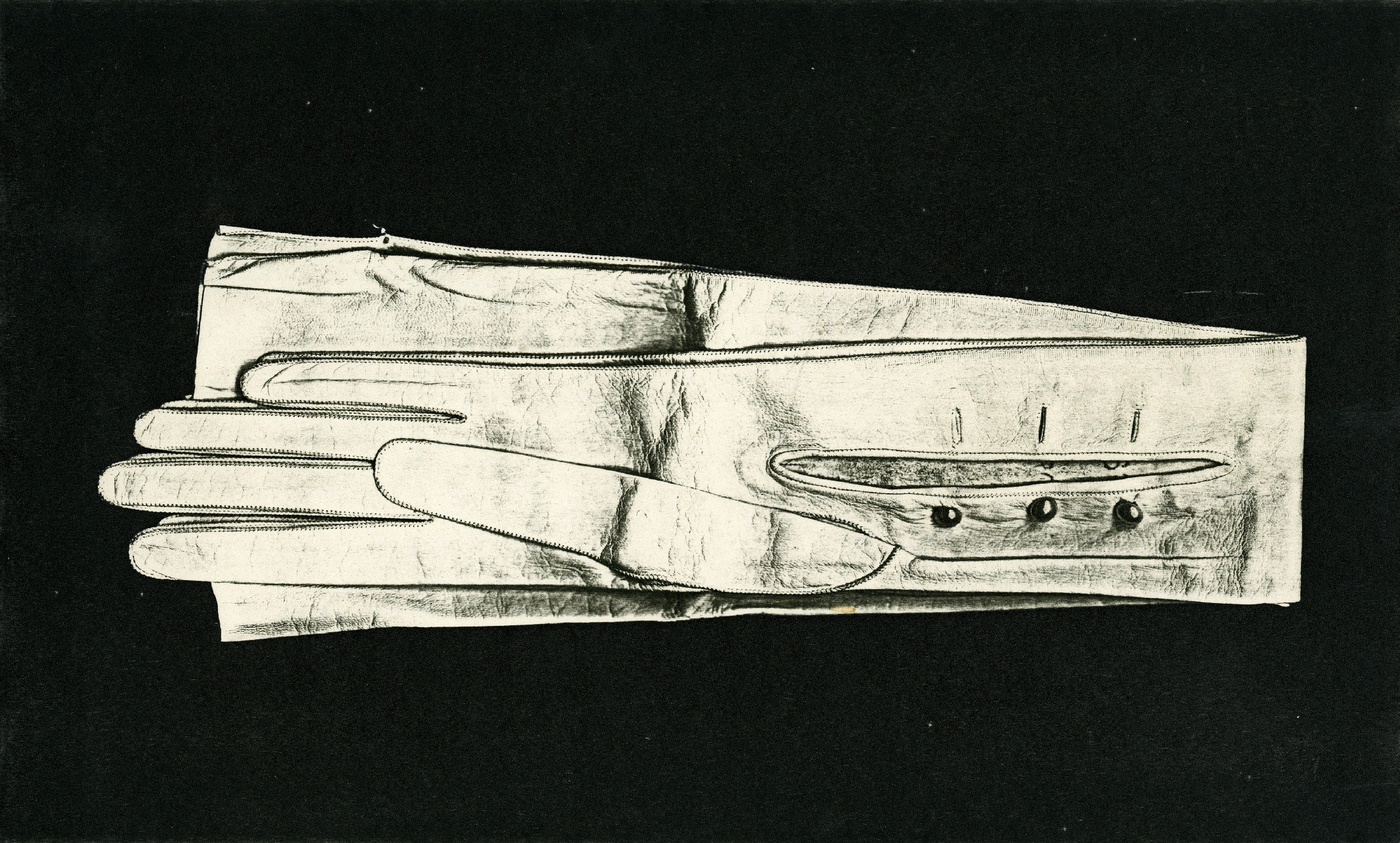 Pati Hill,  Untitled (white gloves),  1976, Black and white photocopy, In original mount, 8 ¼ × 13 ¾ inches