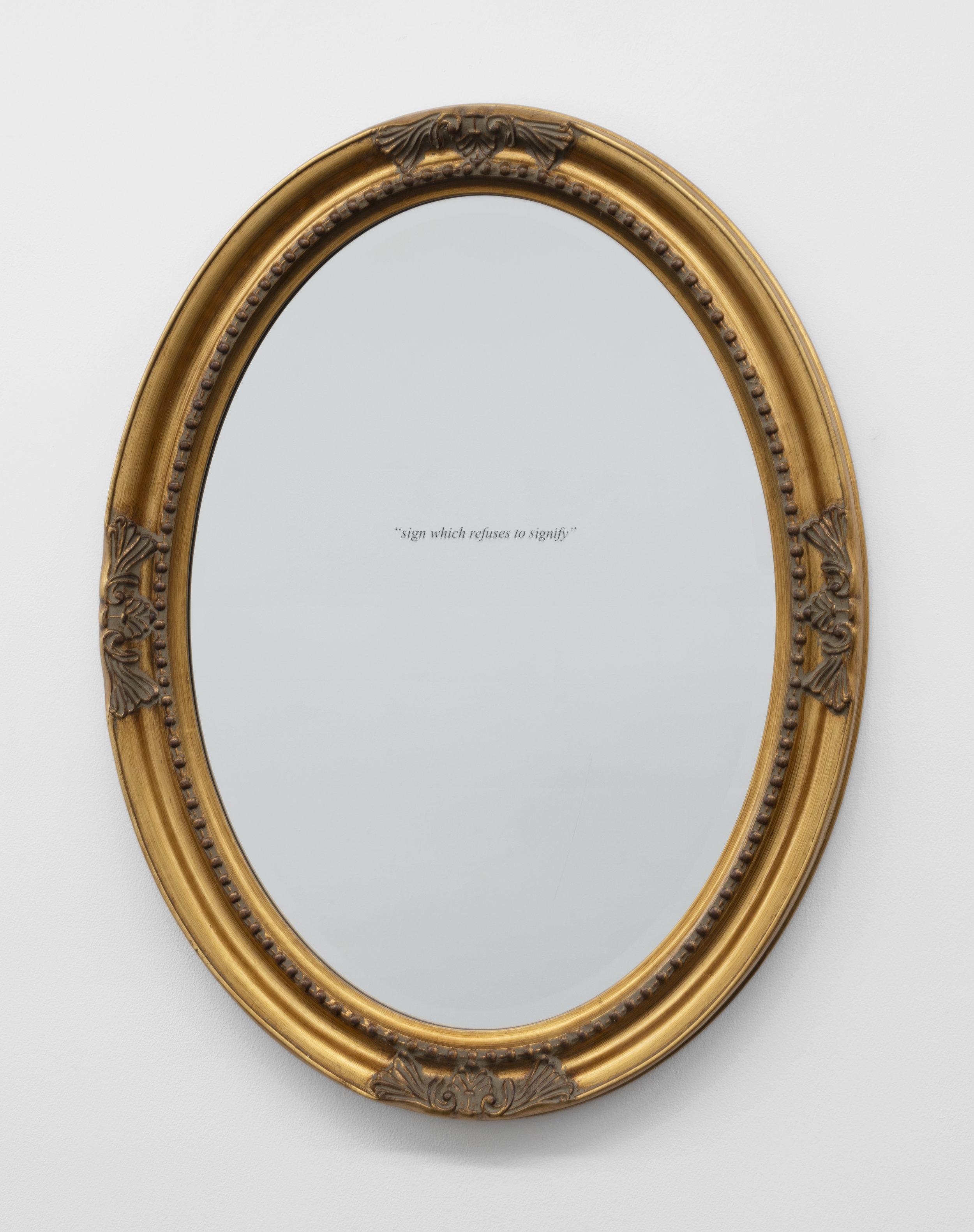 Aria Dean,  cipher (3) , 2018, Mirror, vinyl wall text, Dimensions variable
