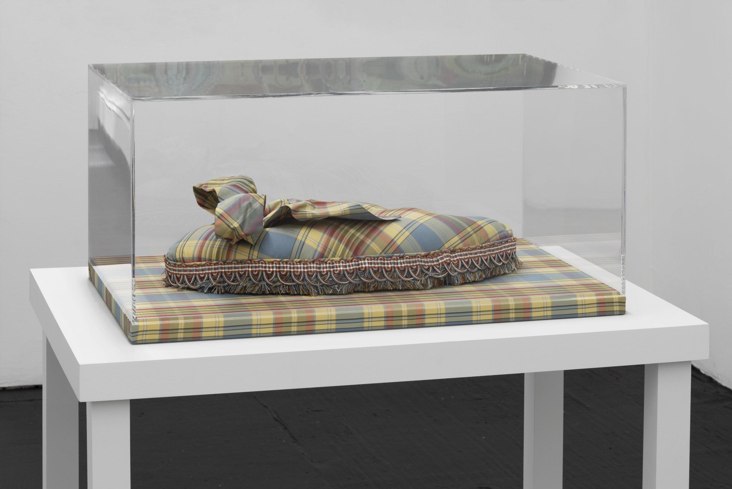 Mitchell Algus,  Doll V,  2018, Fabric and trim in acrylic vitrine, 13 x 29 x 18 in