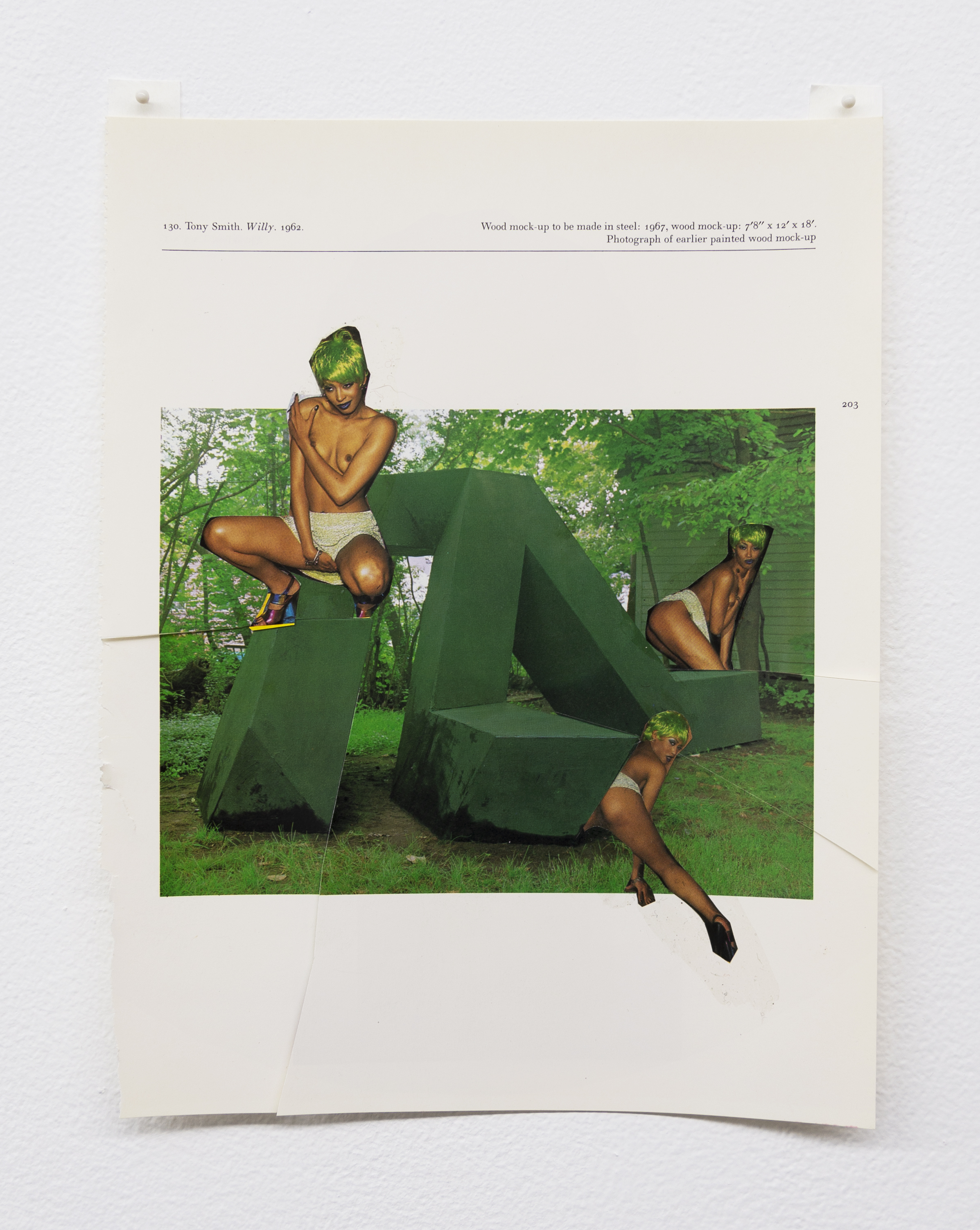 Narcissister,  Studies for Participatory Sculptures, Untitled (Posing in green wigs, after Tony Smith) , 2018, Paper, rubber cement, 10.75 x 8.5 in