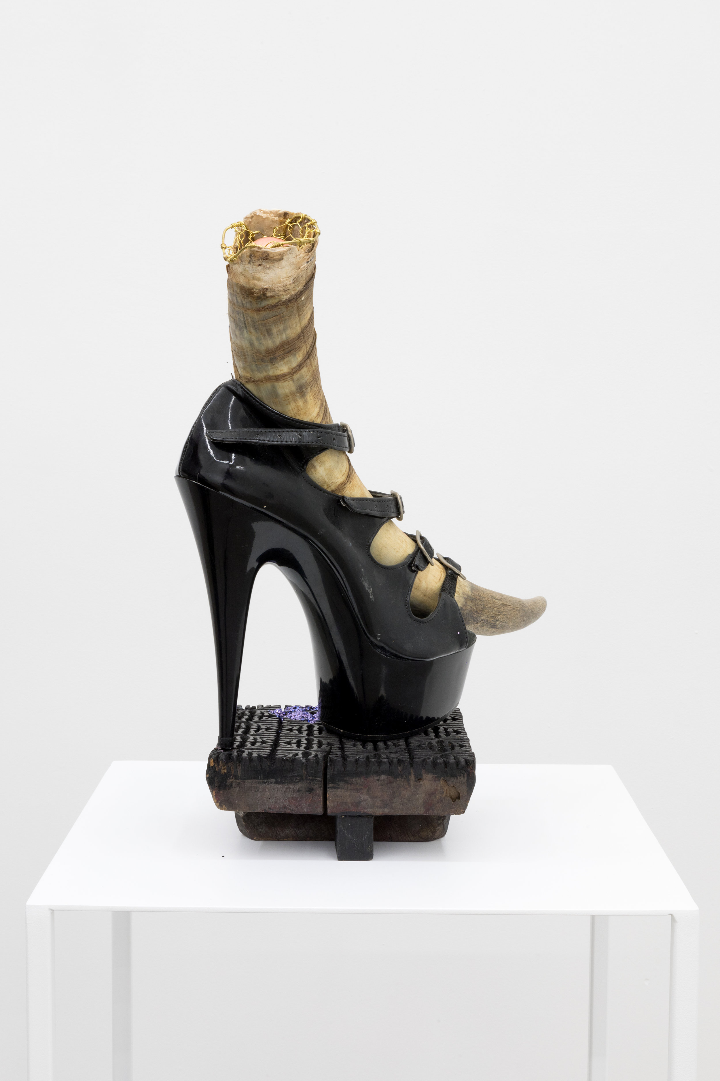 Genesis BREYER P-ORRIDGE,  Shoe Horn #4 , 2014, Ram Horn, shoe worn by Genesis as Lady Sarah, sting ray skin, ermine fur, bone, Nepalese fabric- printing square, brass netting, copper ball, 9 x 9 x 8 in