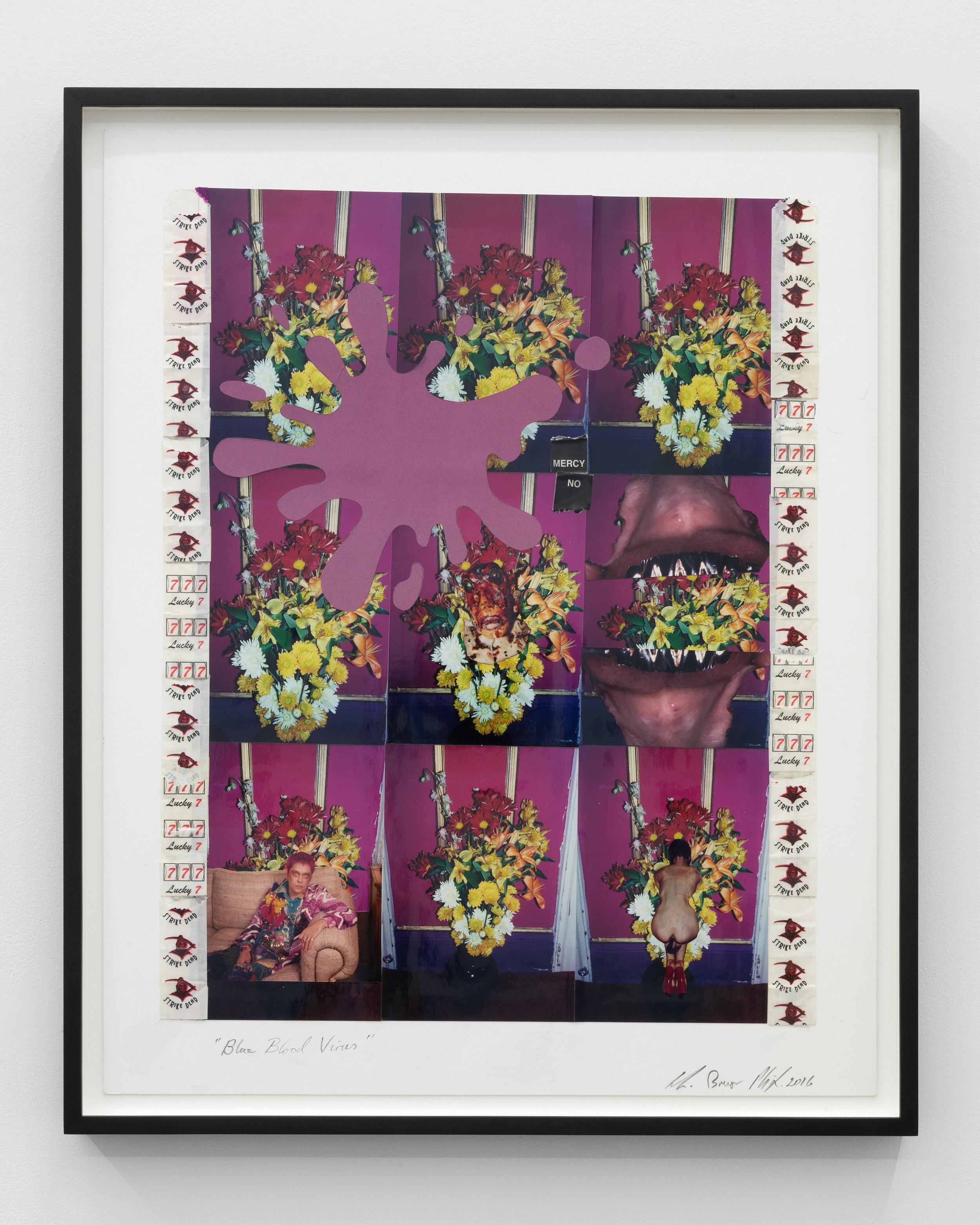 Genesis BREYER P-ORRIDGE,  Blue Blood Virus , 2016, Postcards, polaroid, c-prints, inkjet print, heroin bags, 20 x 16 in