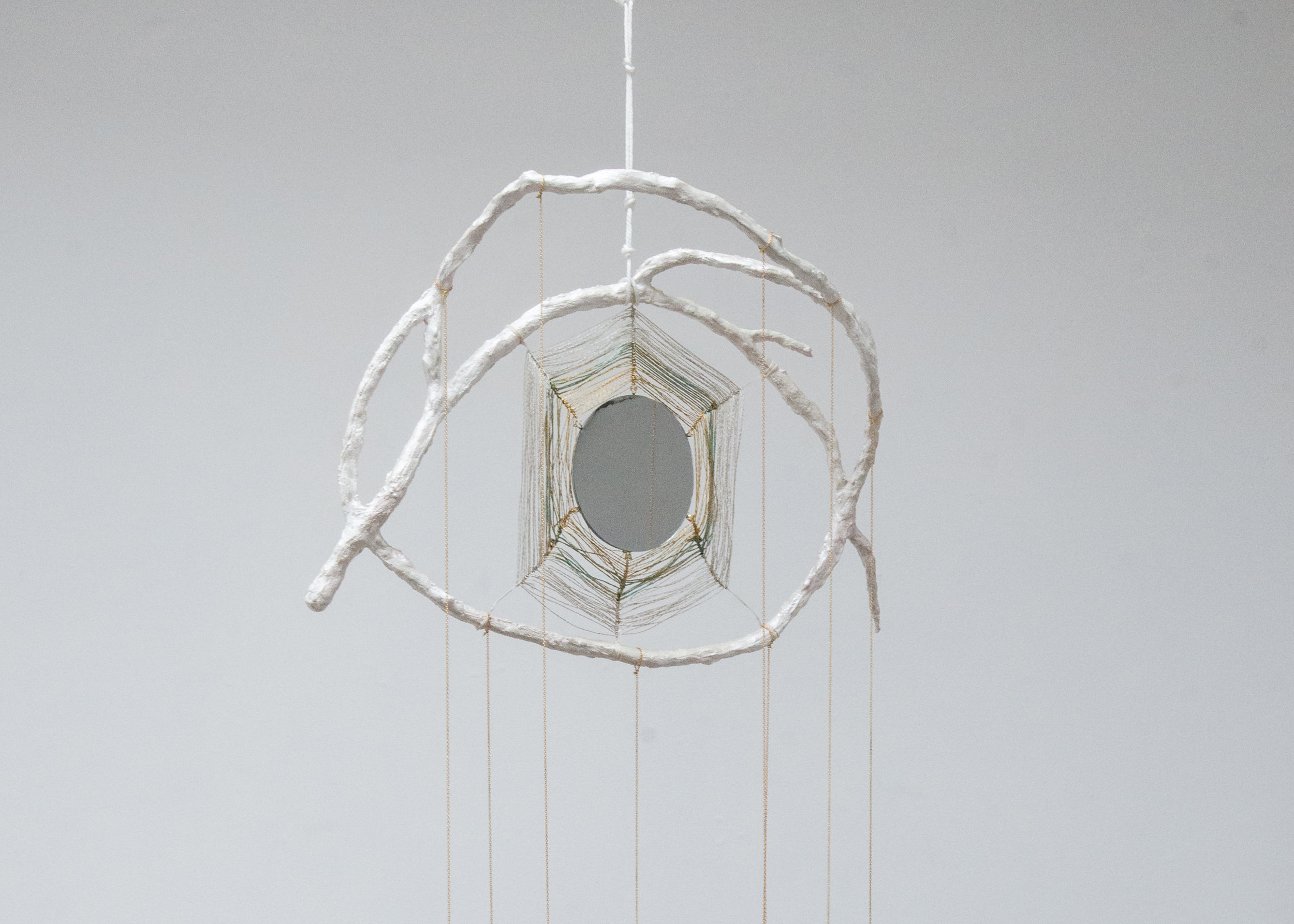 Mindy Rose Schwartz,  God's Eye Makeup Mirror , 2018. Branch, resin, crystals, mirrors, thread, cord, chain and paint