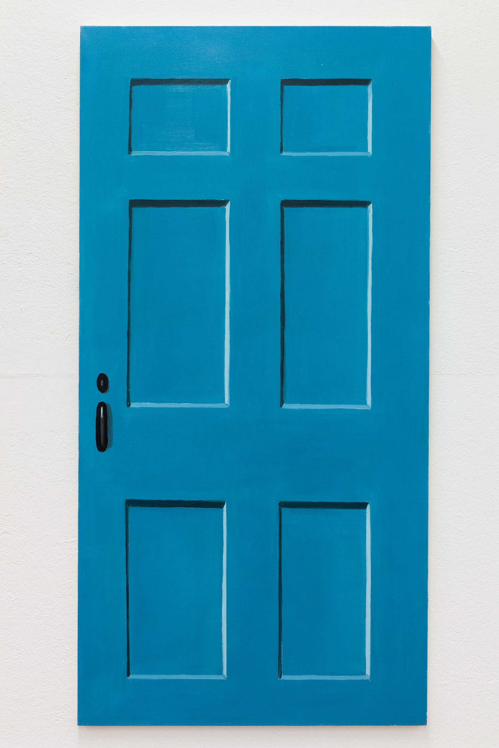 Richard Bosman,  Andy Warhol Door , 2016, Oil on canvas, 72 x 36 inches