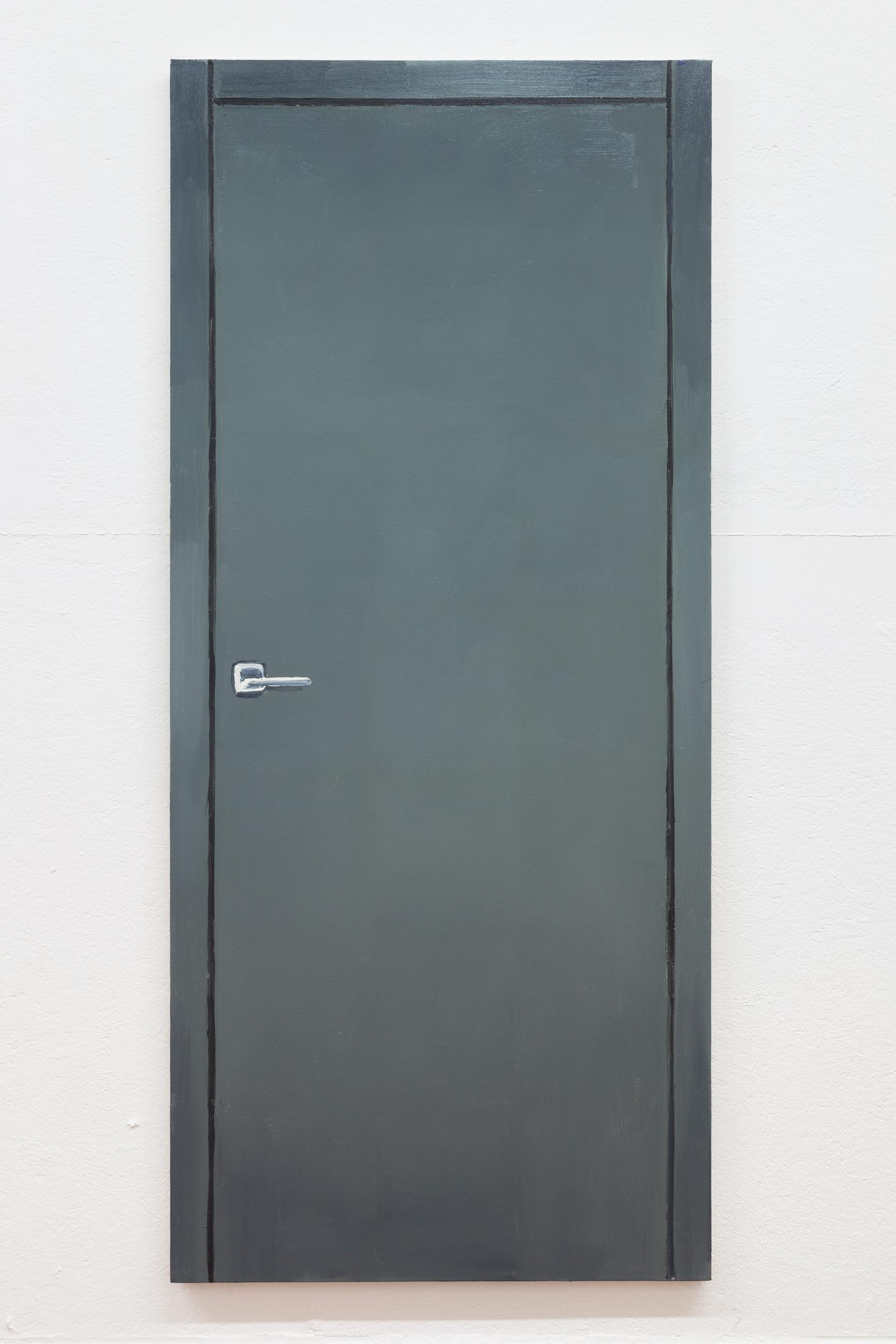 Richard Bosman,  Ad Reinhardt Door , 2016, Oil on canvas, 72 x 32 inches