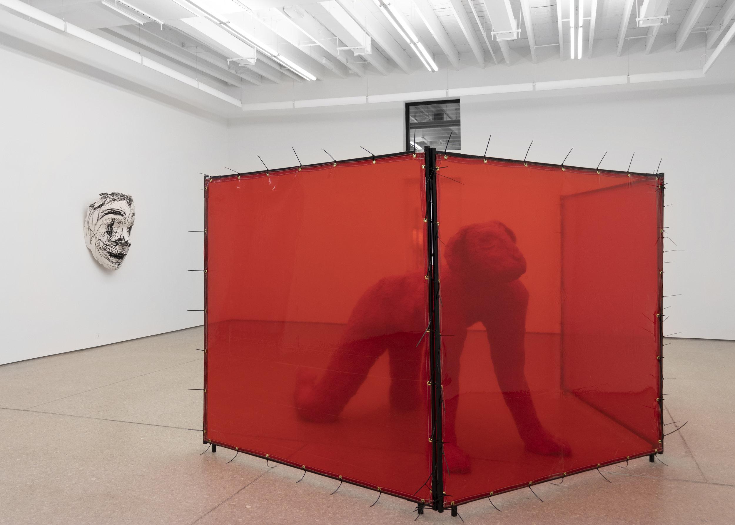 Chloe Siebert,  Partition , 2018, steel and vinyl welding screens, 73 x 67 x 134 in.