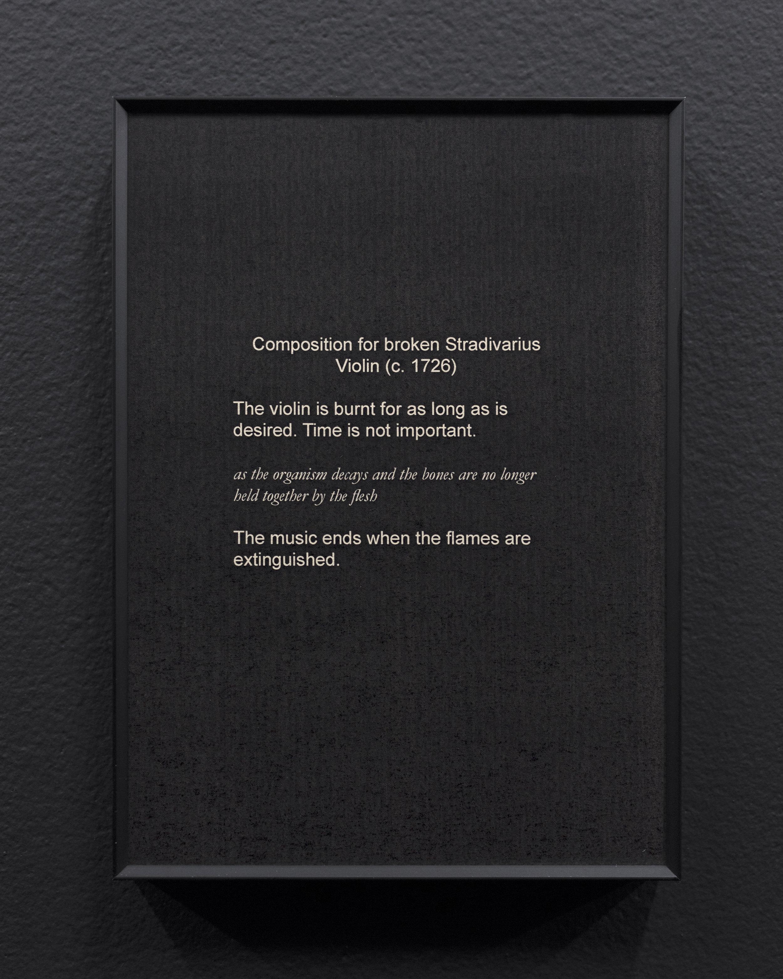 Micca Schippa,  Composition for broken Stradivarius Violin (C. 1726 ), Inkjet print on photo rag. 2018.