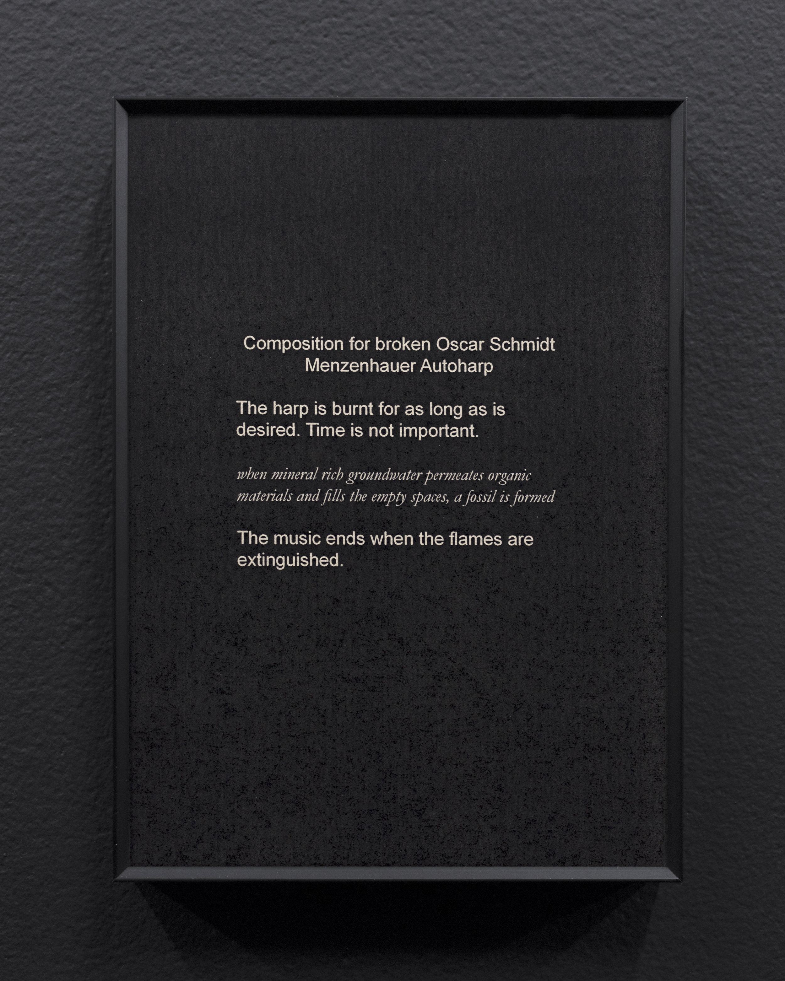 Micca Schippa,  Composition for broken Oscar Schmidt Menzenhauer Autoharp , Inkjet print on photo rag. 2018.