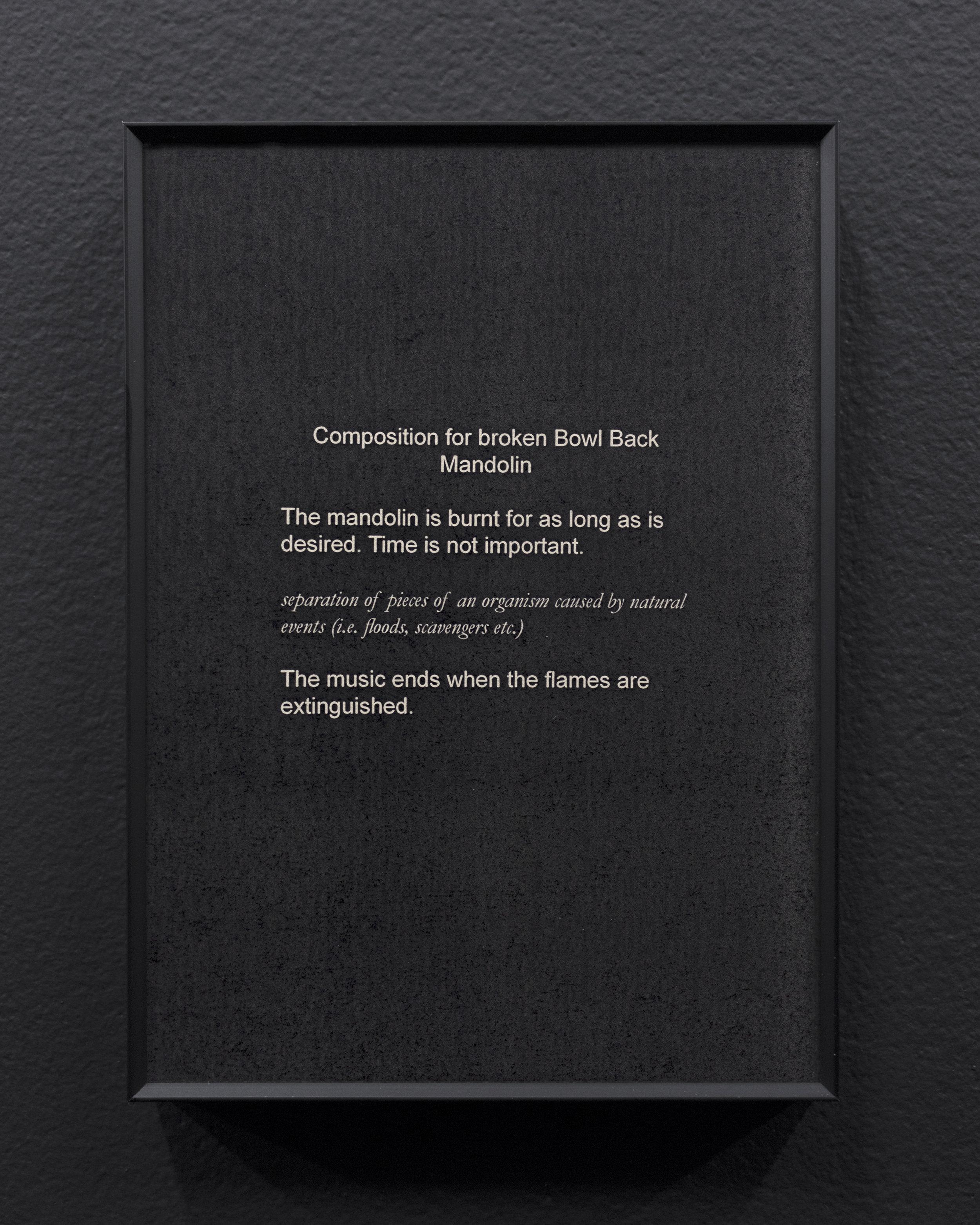 Micca Schippa,  Composition for broken Bowl Back Mandolin,  Inkjet print on photo rag. 2018