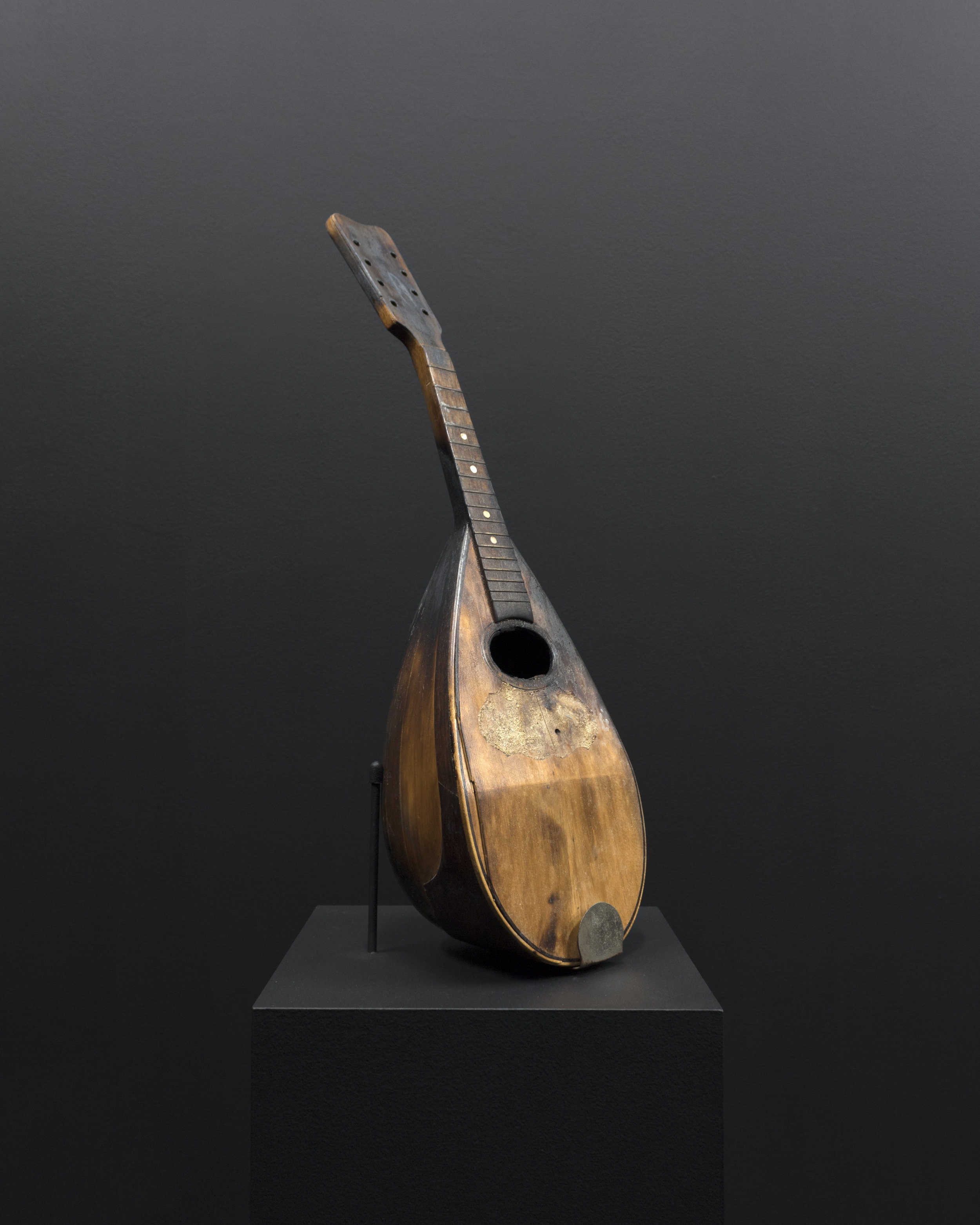 Micca Schippa,  separation of pieces of an organism caused by natural events (i.e. floods, scavengers etc.) , Antique bowl back mandolin. 2018.