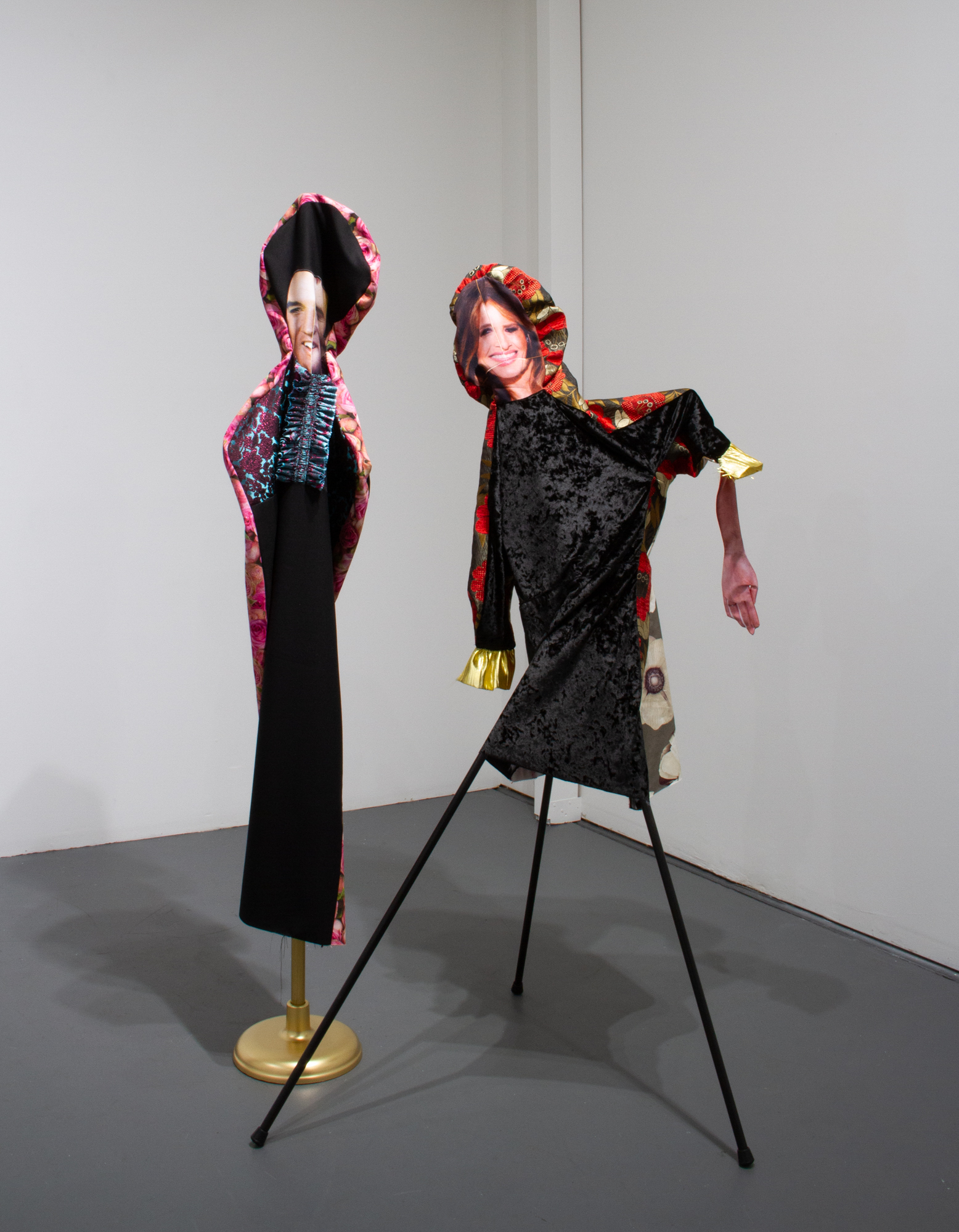 Bean Gilsdorf, Left:  Thin King,  2018, Wool, polyester, brocade, cotton, wood, paint, flag stand, approx. 72 x 12 x 12 in. Right:  MT,  2018, Velvet, cotton, polyester, chenille brocade, wood, paint, approx. 66 x 37 x 29 in.