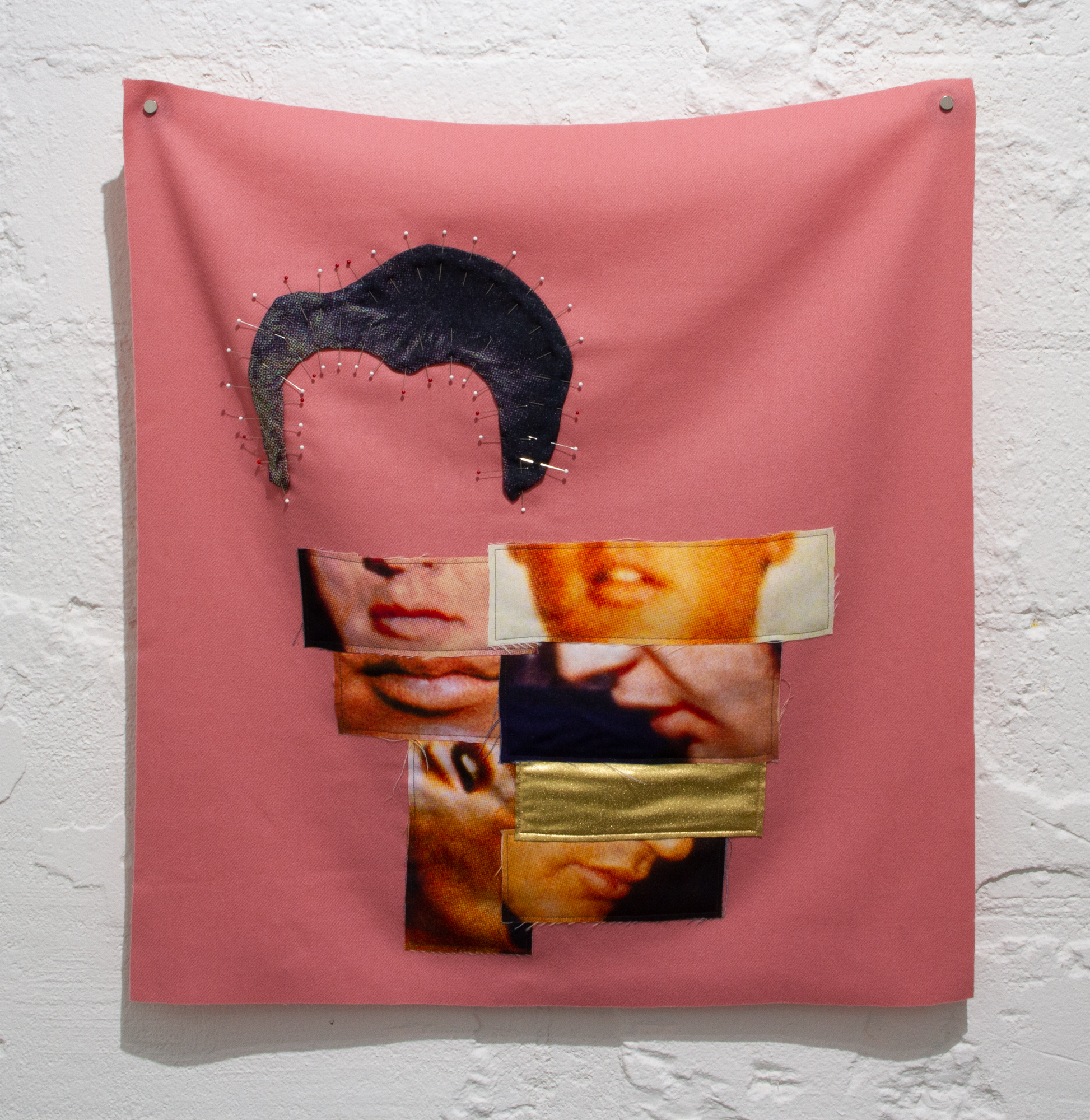Bean Gilsdorf,  Golden Boy , 2017, Fabric collage with wool, polyester, lycra, pins, 26 x 24 in.