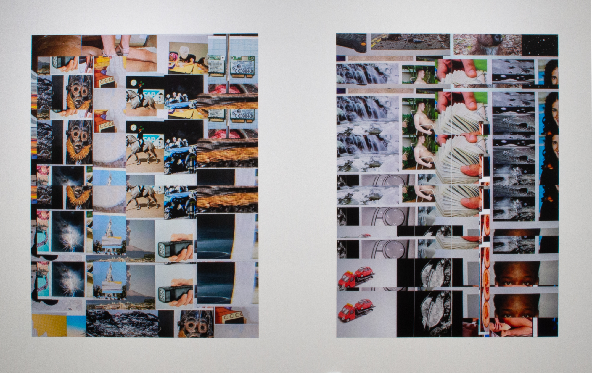 Anthony Discenza, Left:  Image Search Composition 2831-1542165551477 , 2018, Digital output on 3M Control-Tac vinyl, 67.7 x 50 in., ed. of 3 + AP + temporary exhibition copy. Right:  Image Search Composition 3140-1539913076358 , 2018, Digital output on 3M Control-Tac vinyl, 67.7 x 50 in., ed. of 3 + AP + temporary exhibition copy.