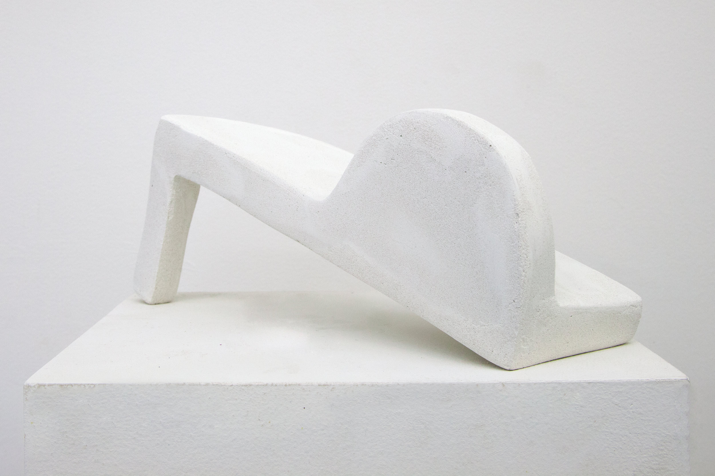 Elizabeth Atterbury,  White Note , 2018, Mortar and Basswood, 10.50 x 3.50 x 4.25 in