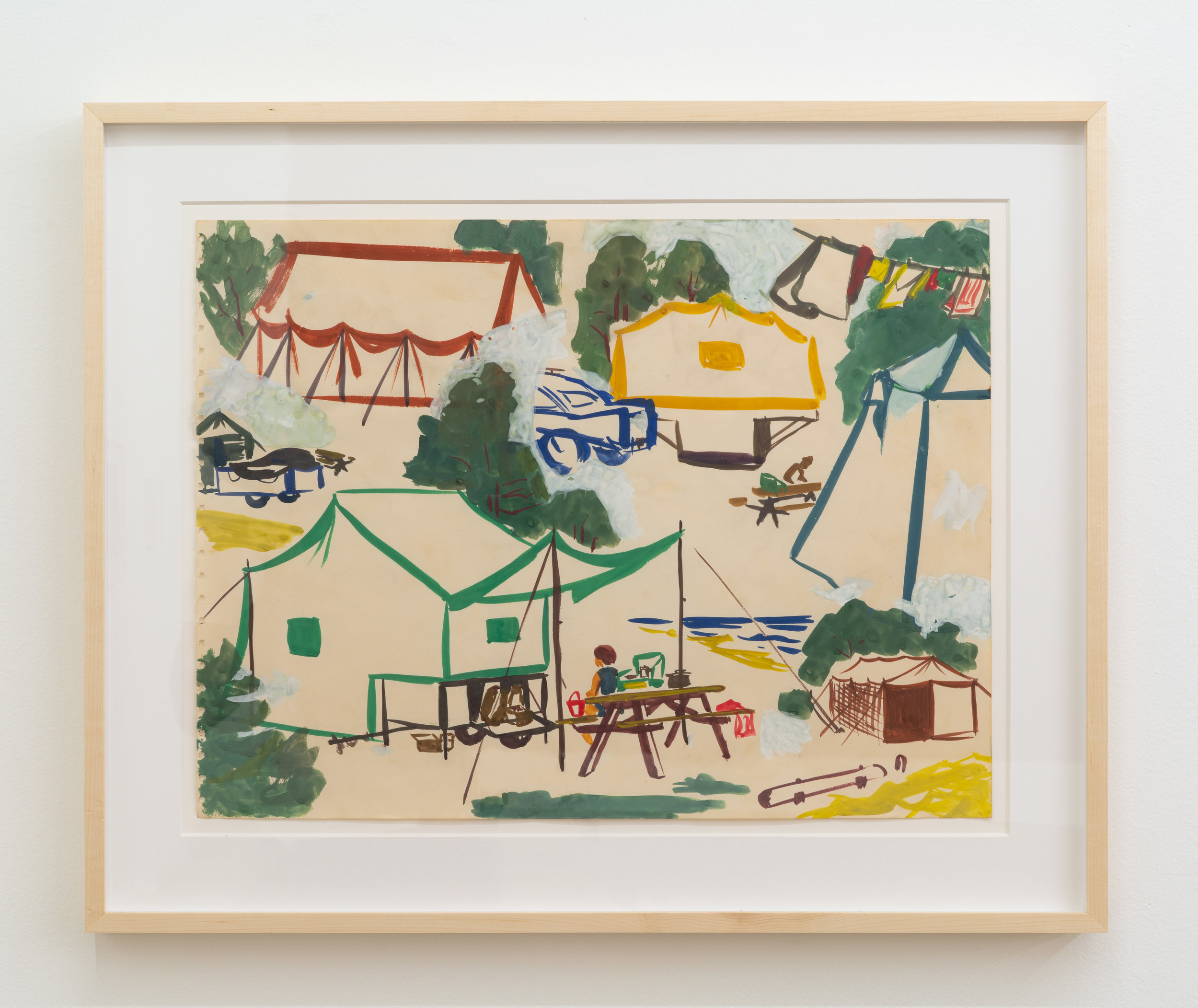 Paula Brunner Abelow,  Campsite,  circa 1960s, Tempera on paper, 18 x 24 inches
