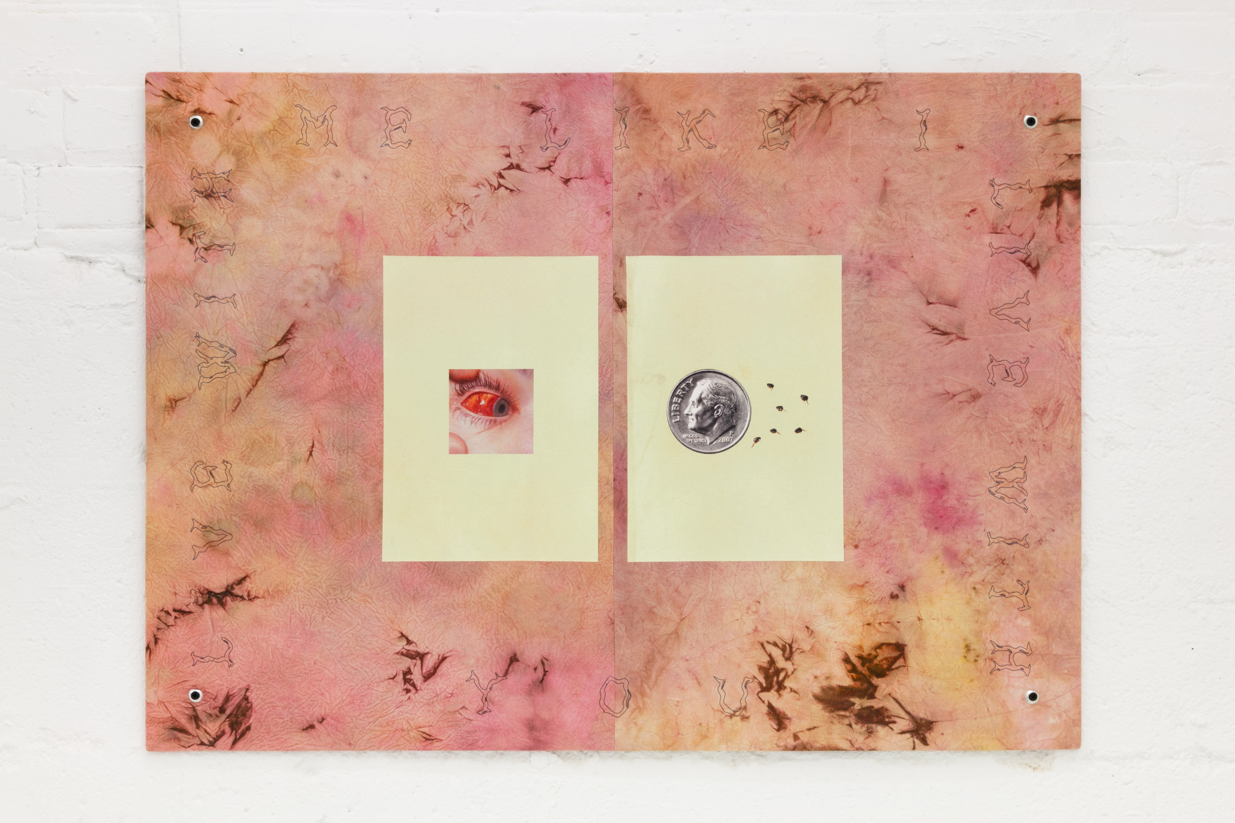 Elif Saydam,  Live with me like I live with you , 2019, Inkjet transfer, aluminium grommets on dyed canvas, mounted on poplar board
