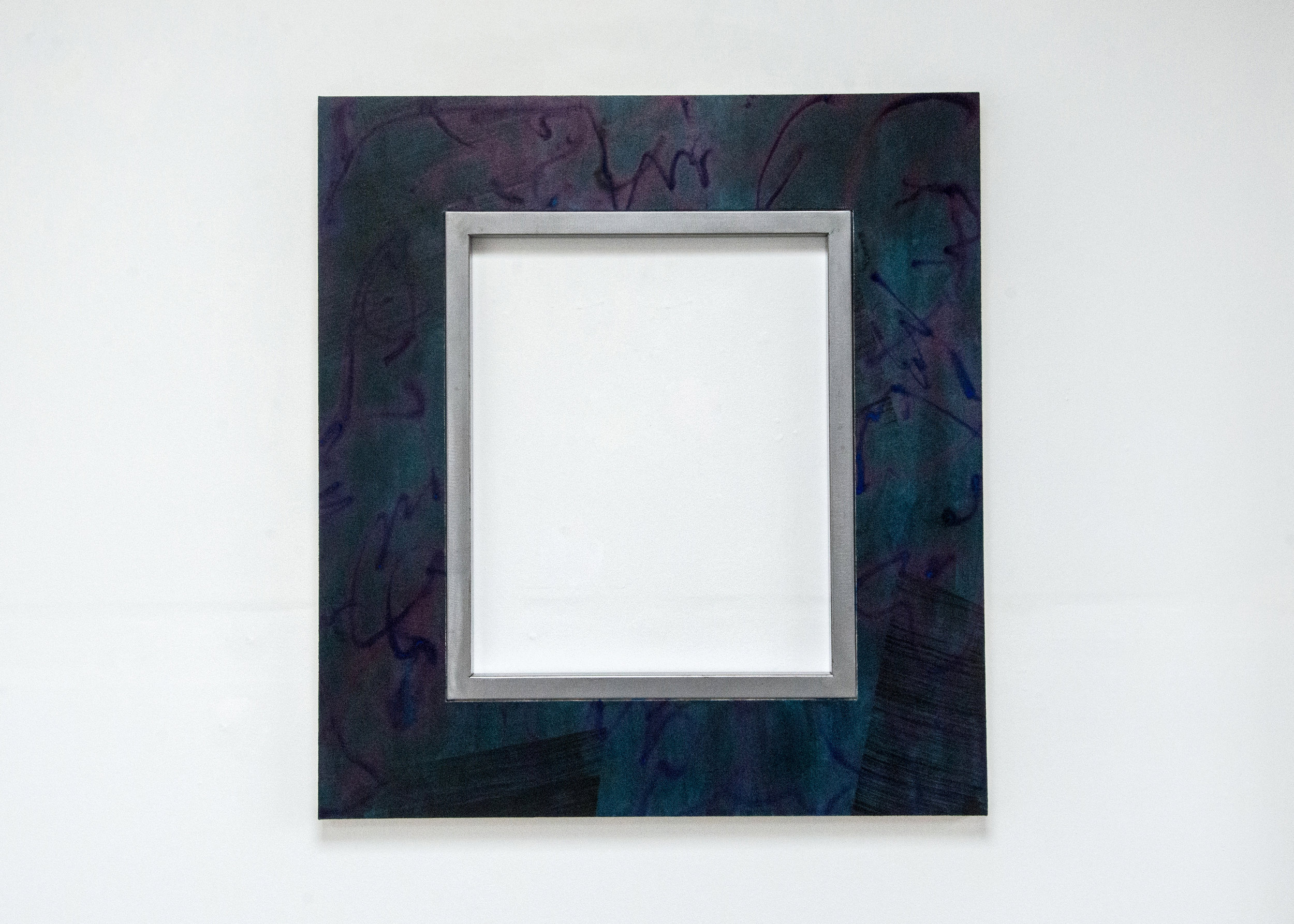 Lana Williams,  Blind Vibrations , 2018. Acrylic, smoke pigment on canvas, steel frame. 44 1/8 x 40 5/8 inches