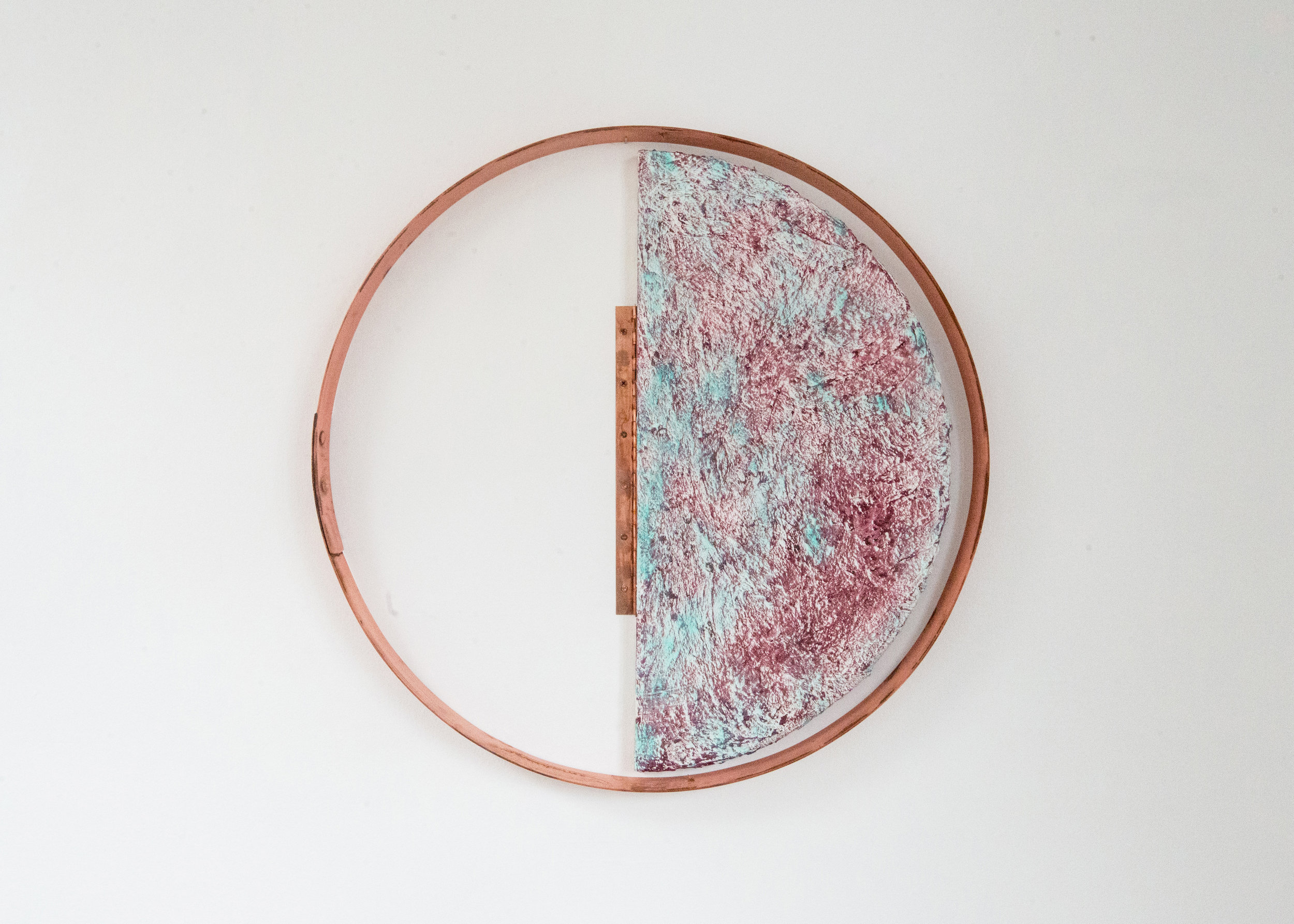 Lana Williams,  Moon Block , 2018. Acrylic, oil, sculptamold, copper plated steel, copper plated hinge. 25.5 x 25.5 inches