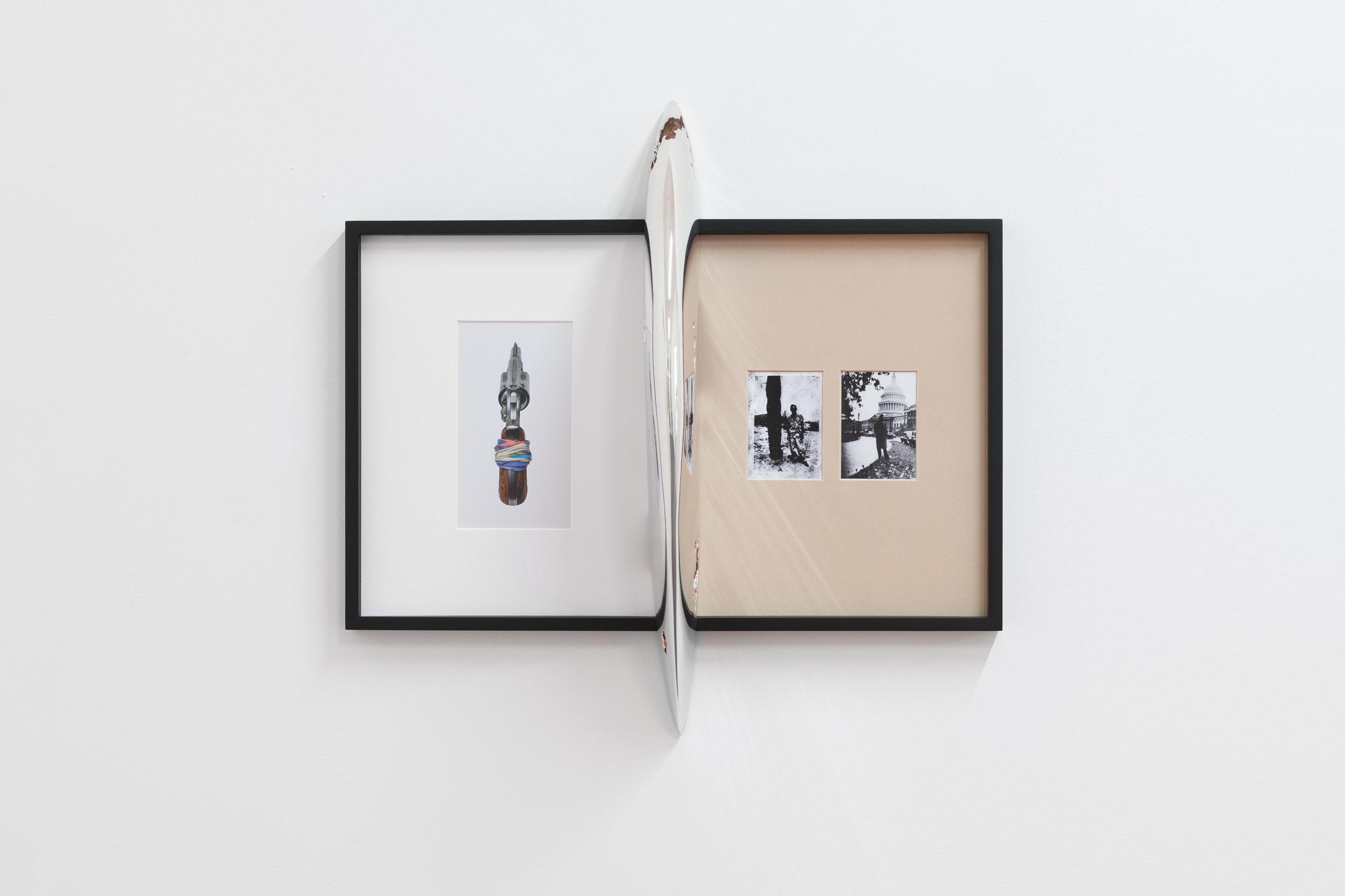 Alex Ito,  Possession I (passive aggressor),  2018, Chromed resin mounted on framed inkjet print, 60 x 61 x 20 cm