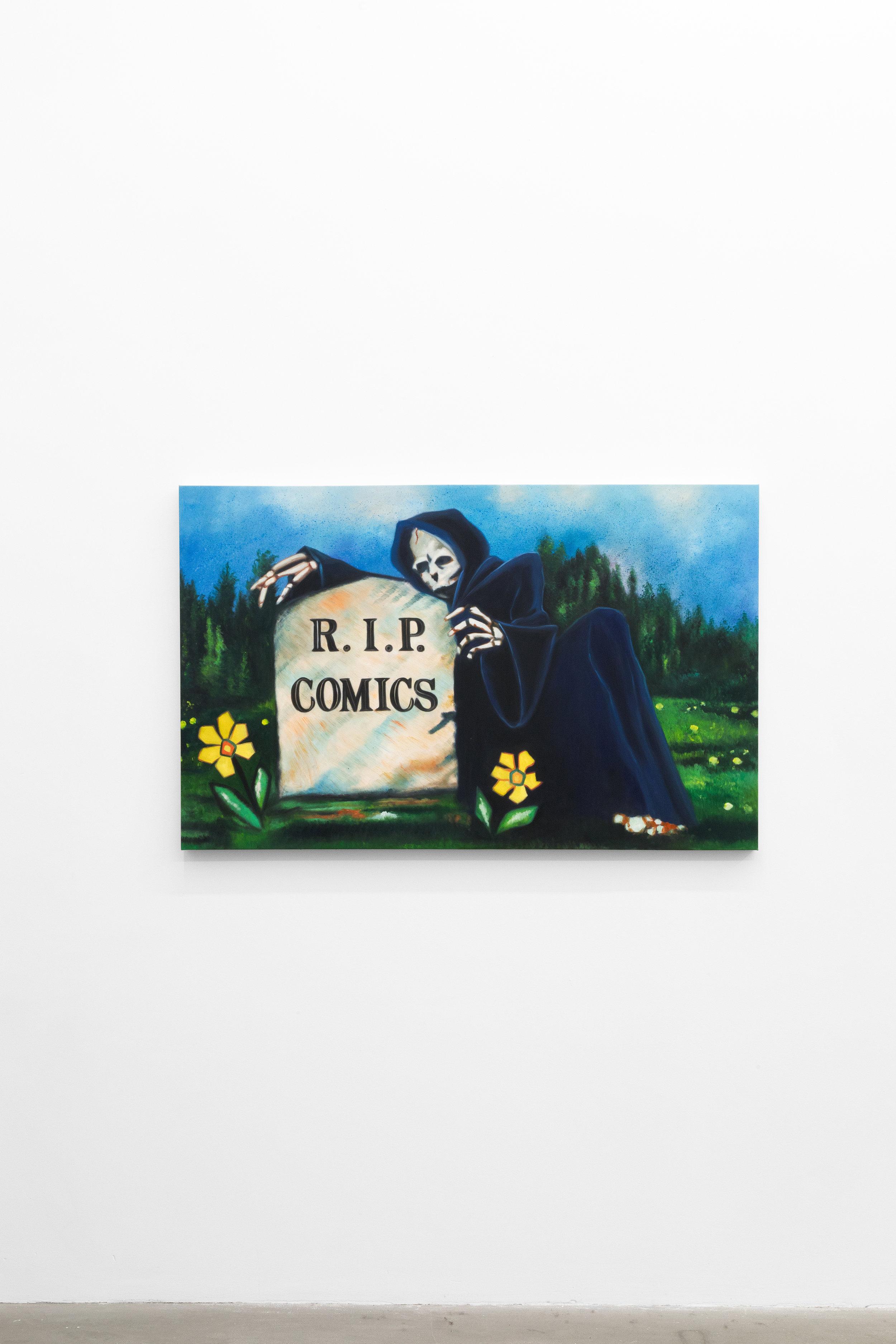 Jesse Harris,  Comics , 2018, Oil on canvas, 30 x 40 in (76.2 x 101.6 cm)