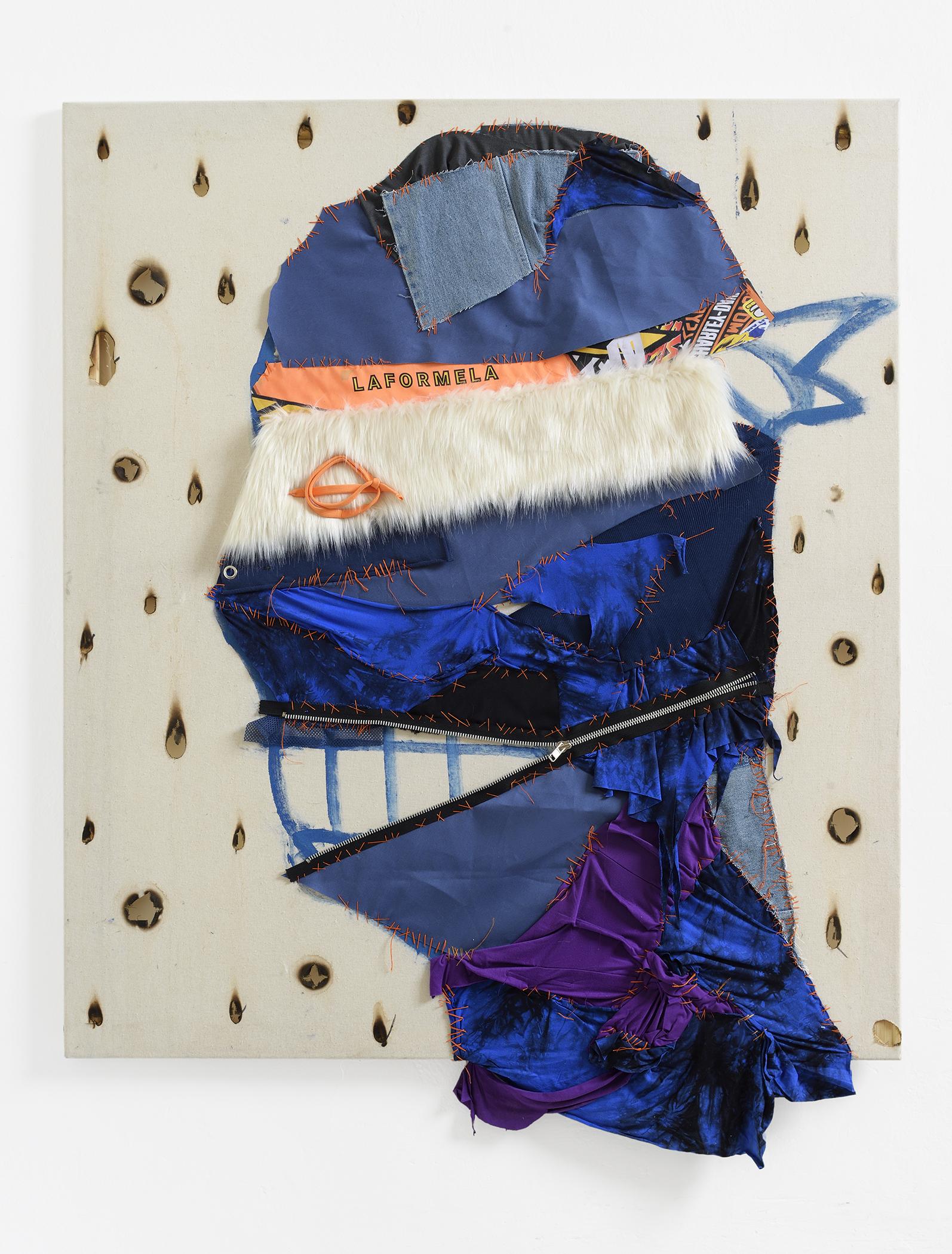 Martin Lukáč x Laformela  Laformela , 2018, Various materials on cotton, acrylic and burn marks, 120 x 104 cm